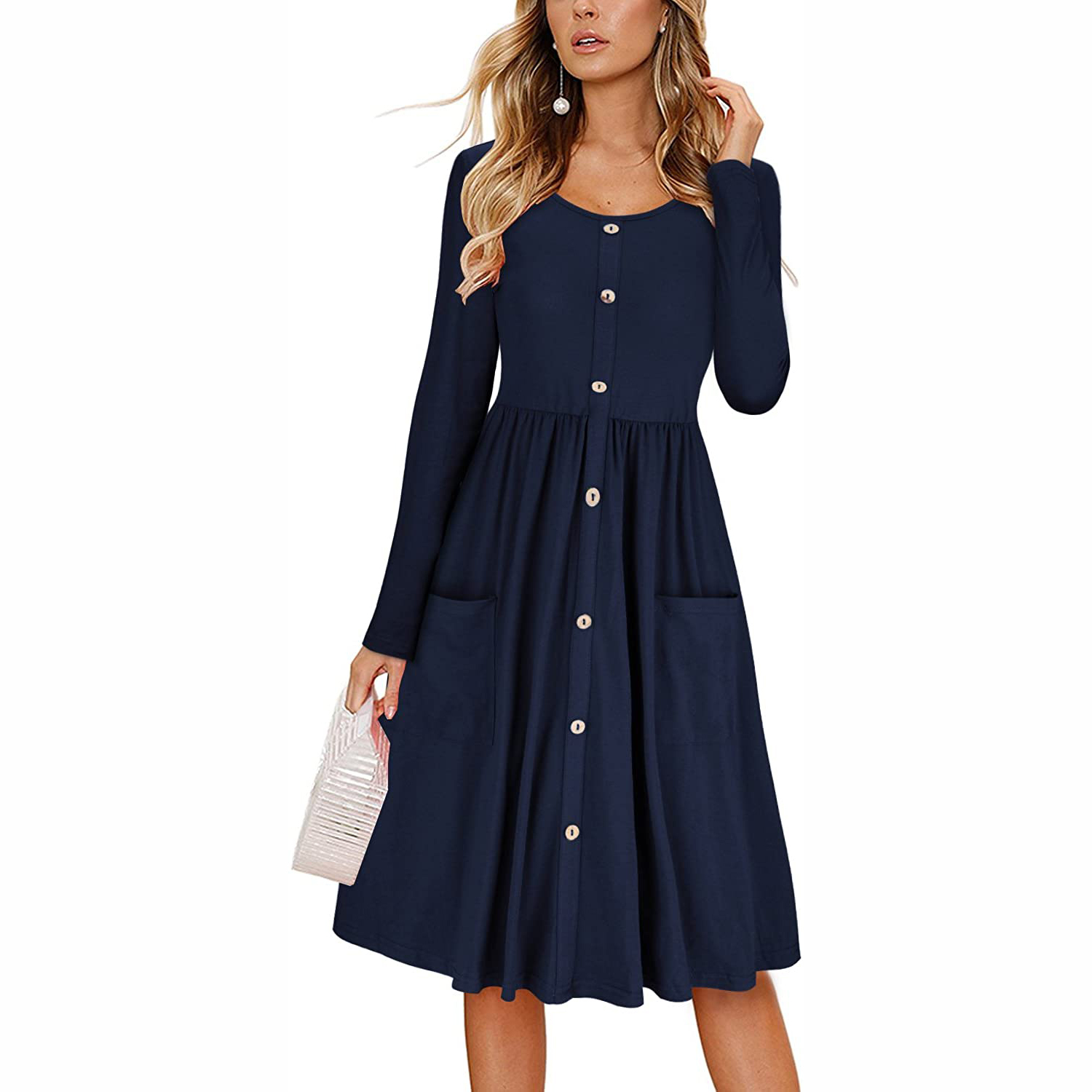Kilig Women's Button-Down Midi Dress with Pockets
