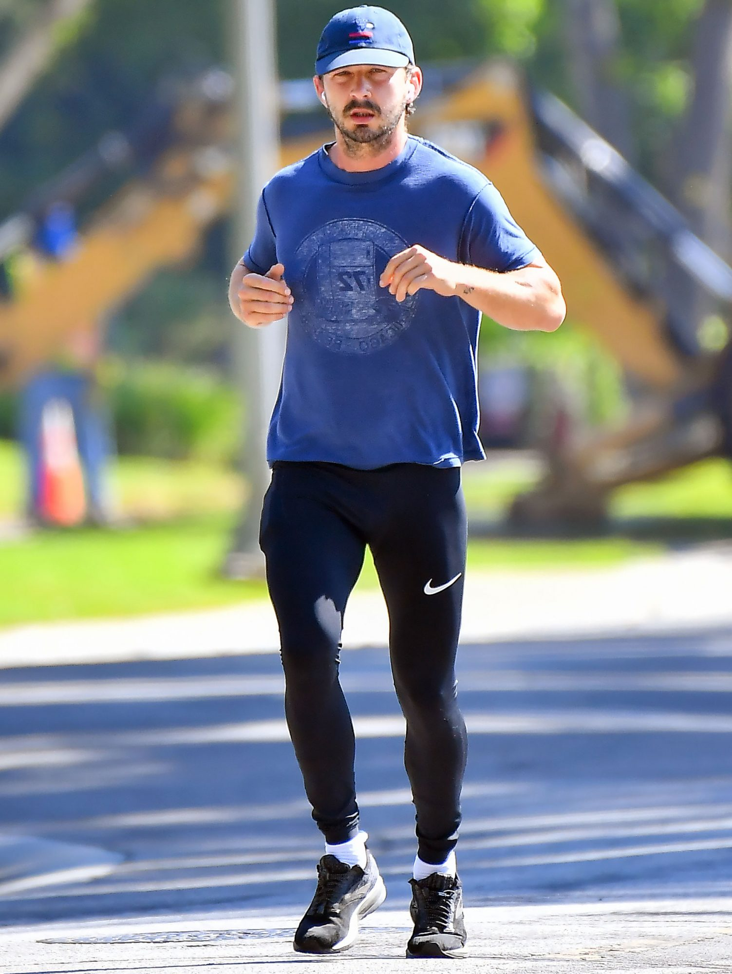 Shia LaBeouf heads out on a jog after being charged with battery and petty theft