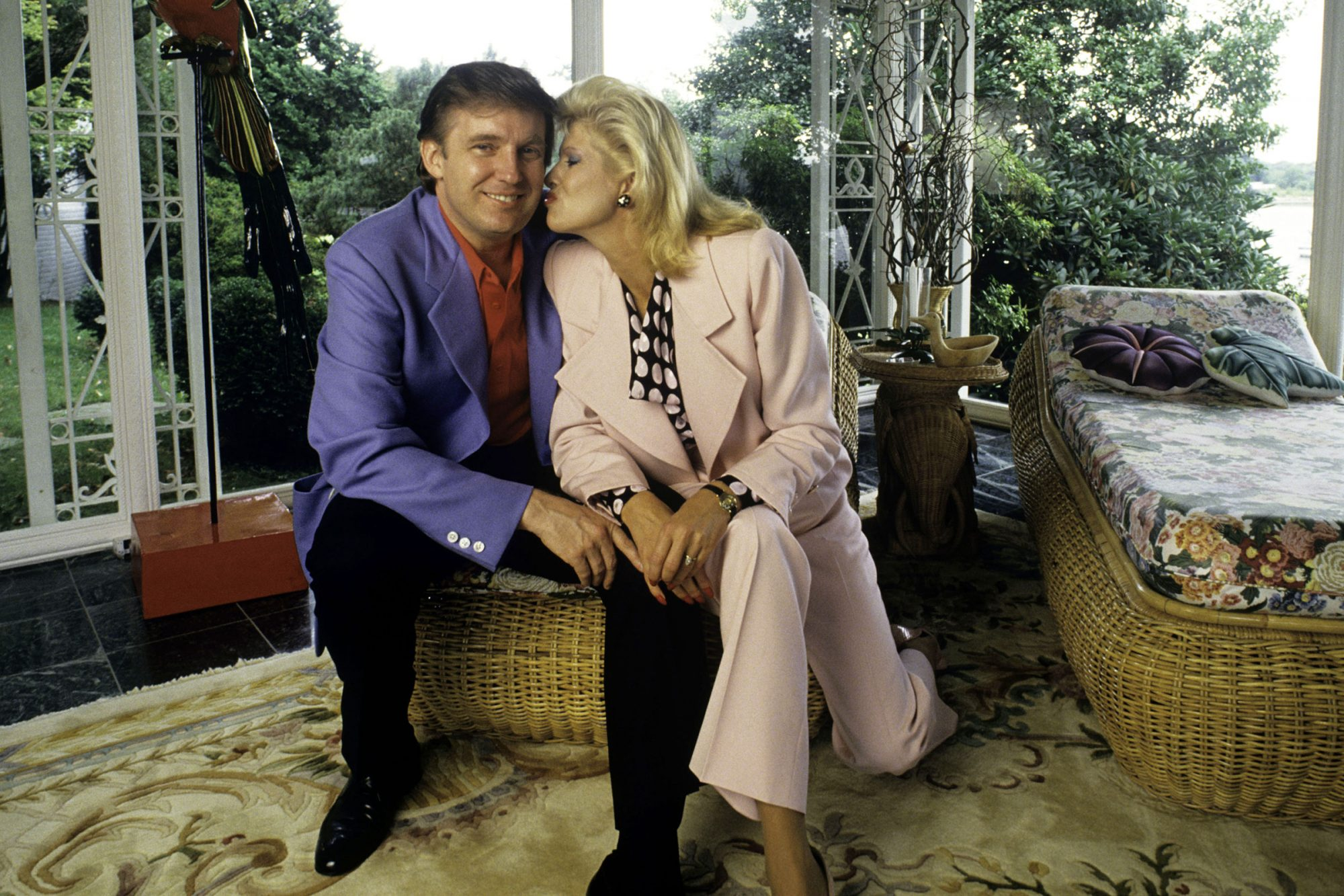 Donald Trump, real estate mogul, entrepreneur, and billionare, relaxes at his home with his wife, Ivana Trump