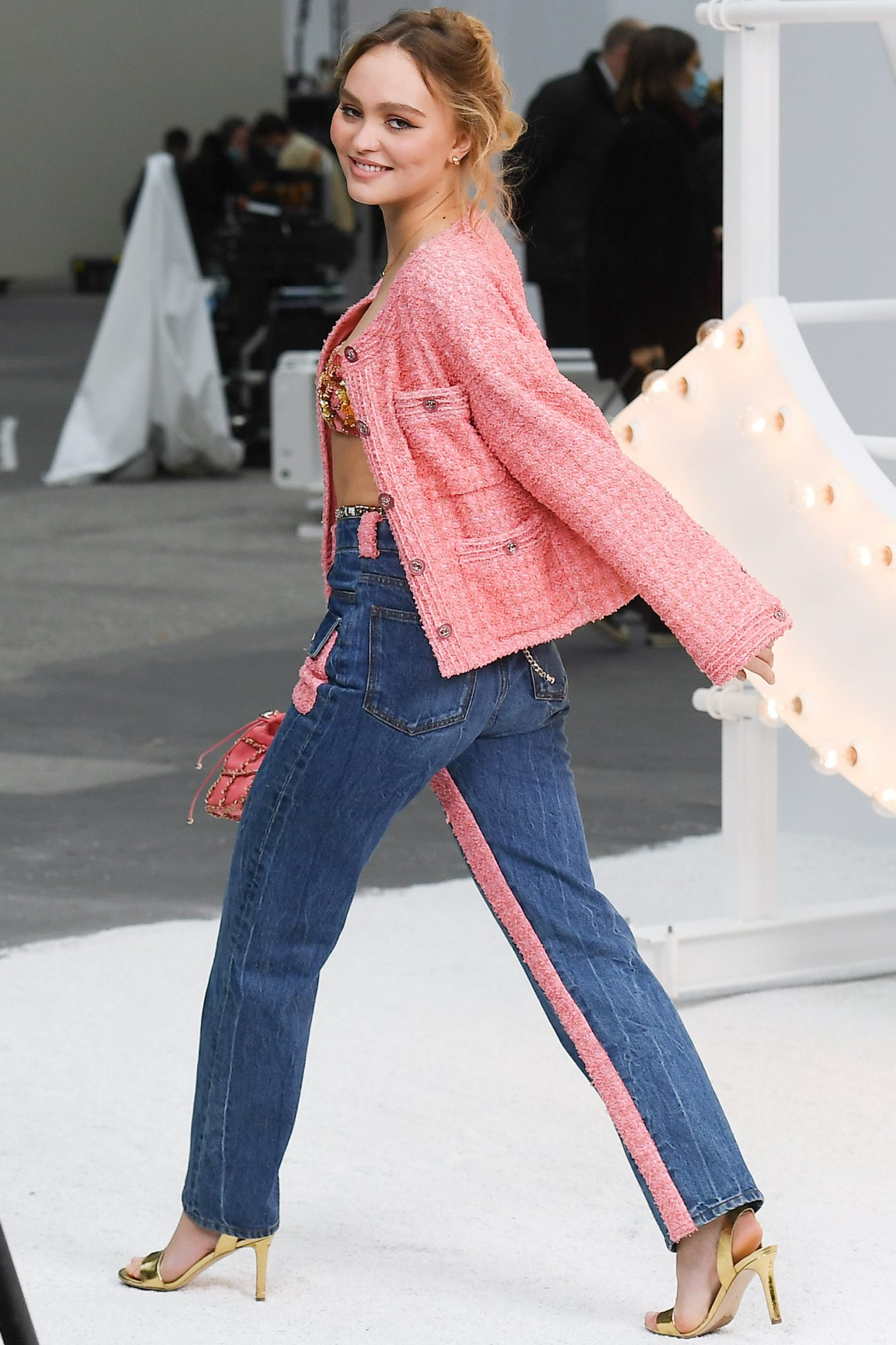 Lily-Rose Depp attends the Chanel Womenswear Spring/Summer 2021 show as part of Paris Fashion Week on October 06, 2020 in Paris, France
