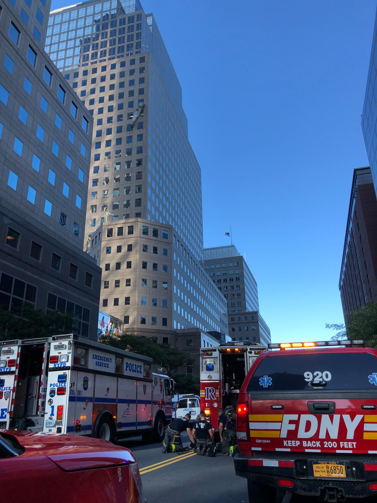 FDNY members rescued two workers from an off-level hanging scaffold this morning in Manhattan.