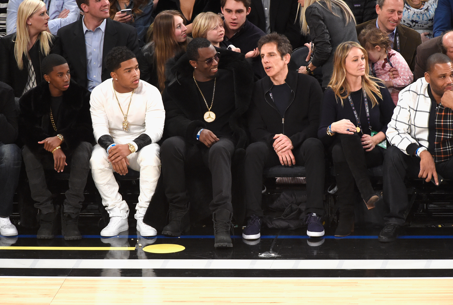 Sean Combs, Ben Stiller, and Christine Taylor attend The 64th NBA All-Star Game 2015