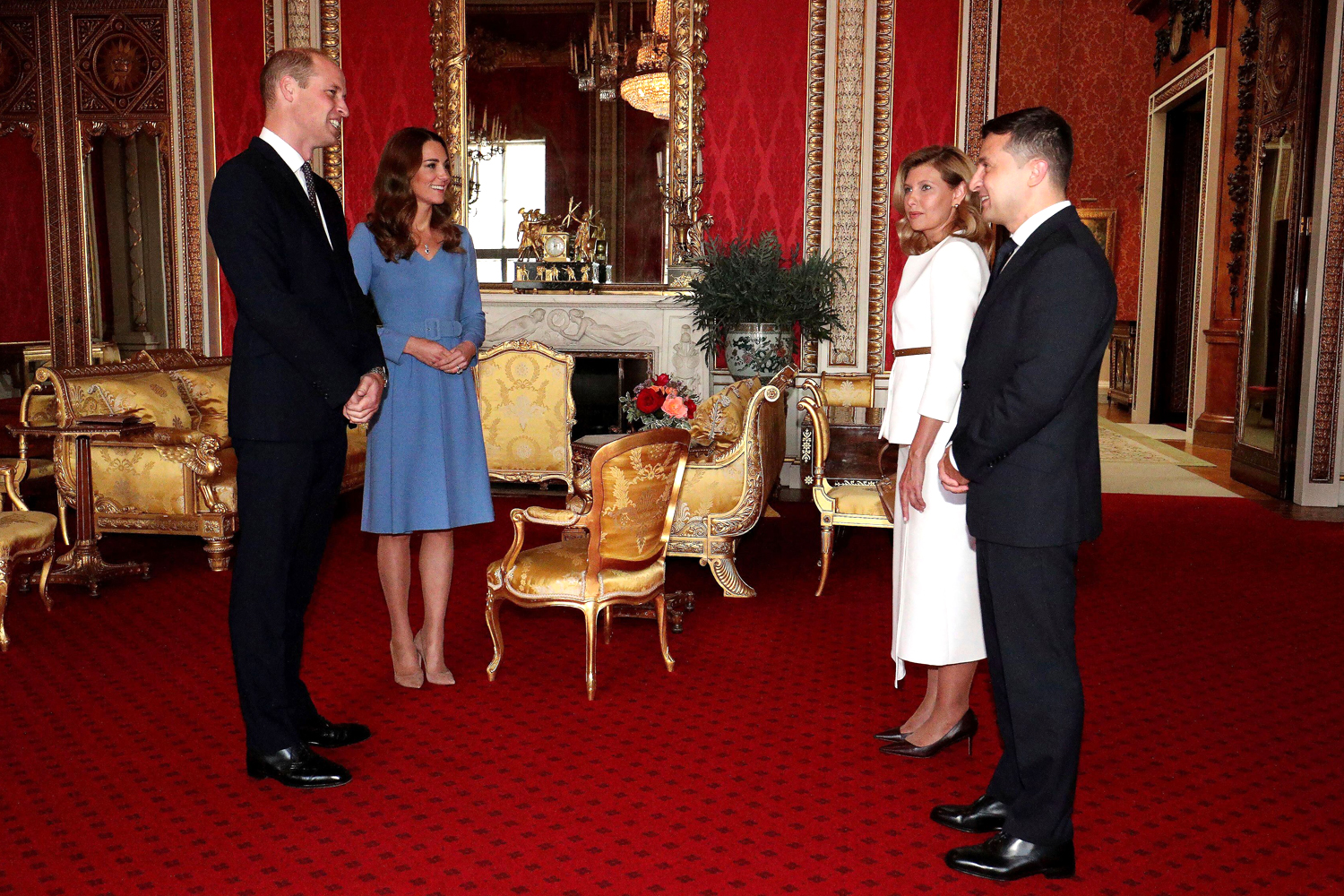 Prince William and Kate, Duchess of Cambridge meet the Ukraine President Volodymyr Zelenskiy, right, and his wife, Olena