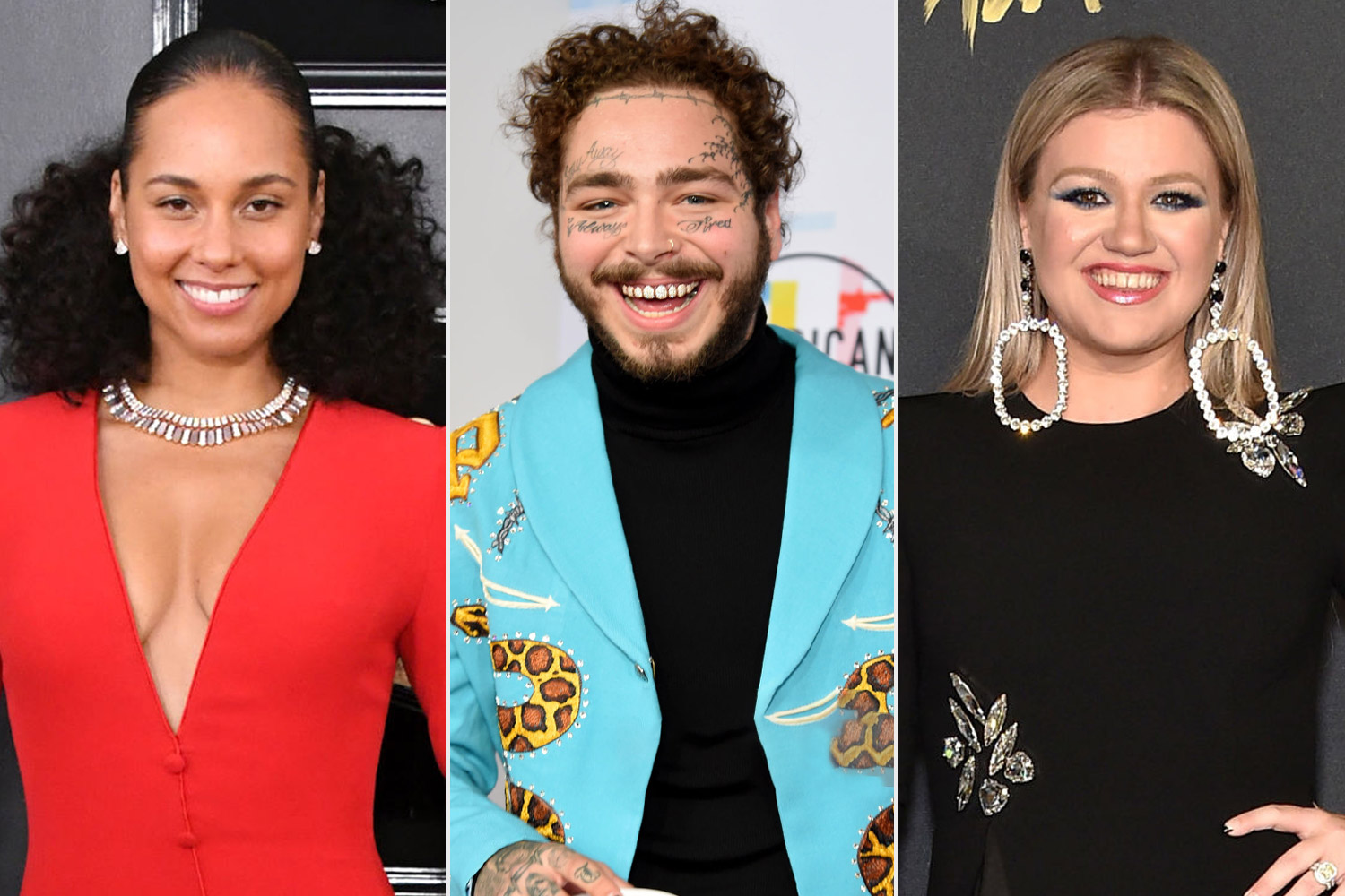 Alicia Keys, Post Malone and Kelly Clarkson