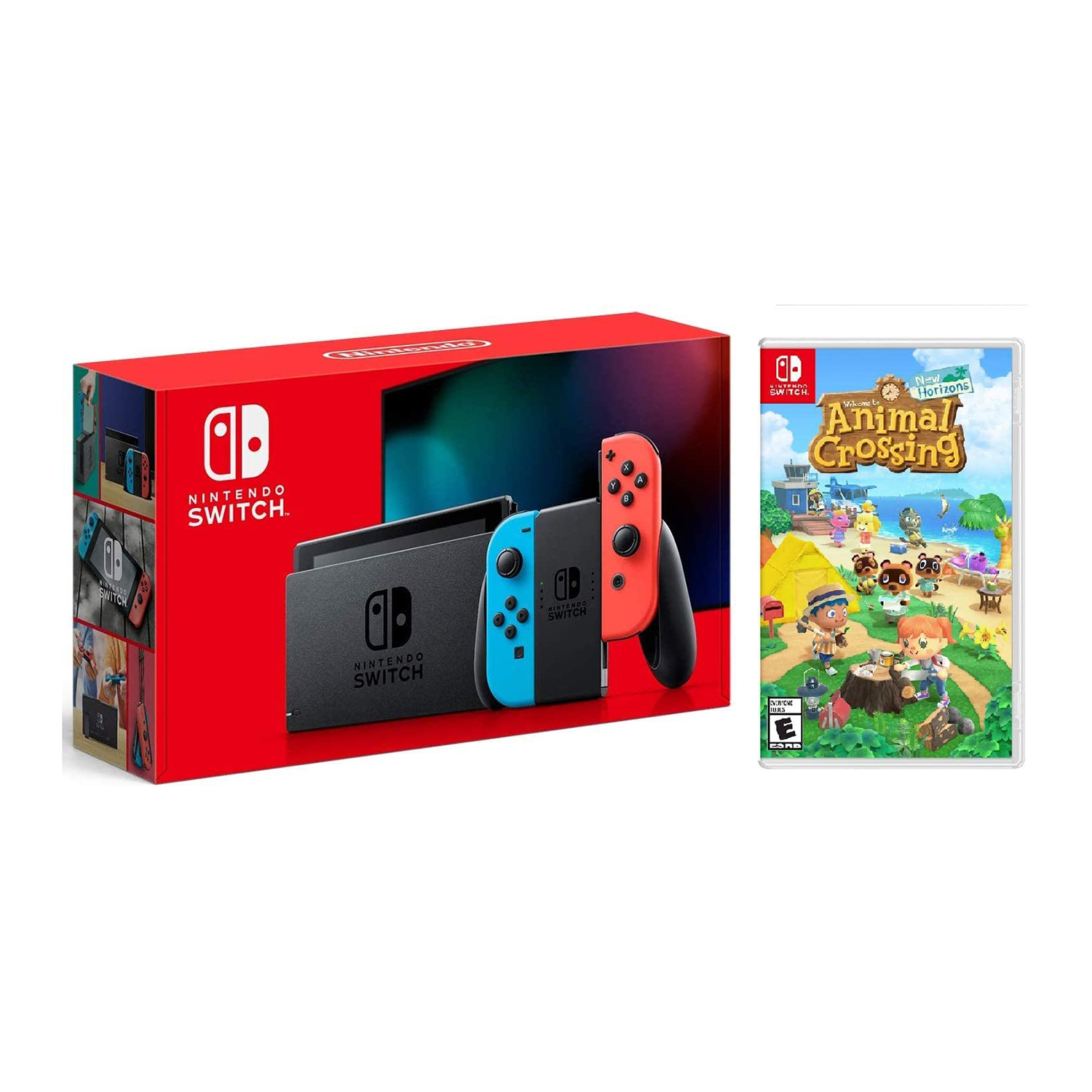 Nintendo Switch (Red and Blue Joy-Con) Animal Crossing Bundle