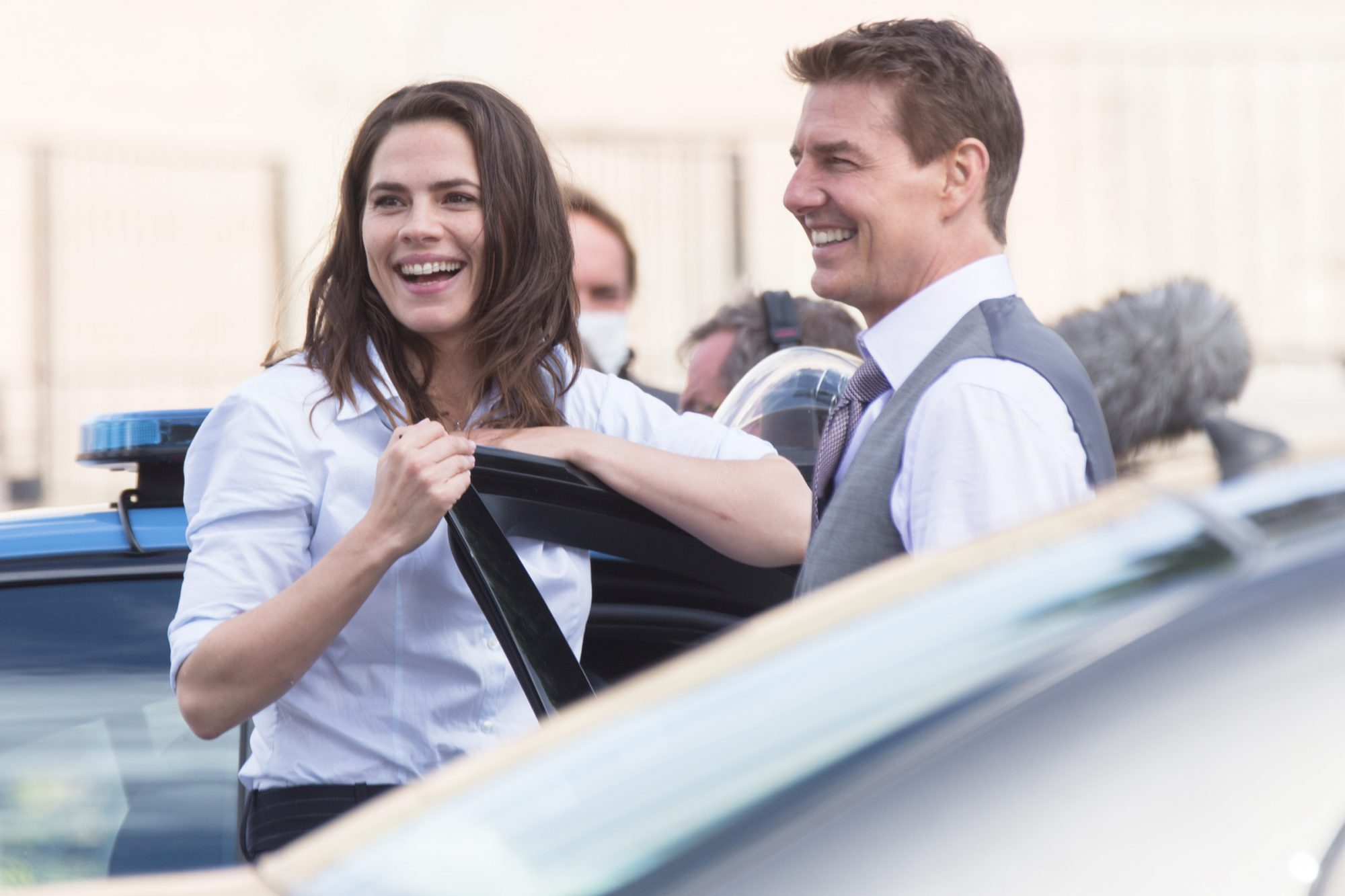 Tom Cruise and Hayley Atwell on the set of the movie ''Mission Impossible 7'' in Via dei Fori Imperiali in Rome, on the morning of 12 October 2020