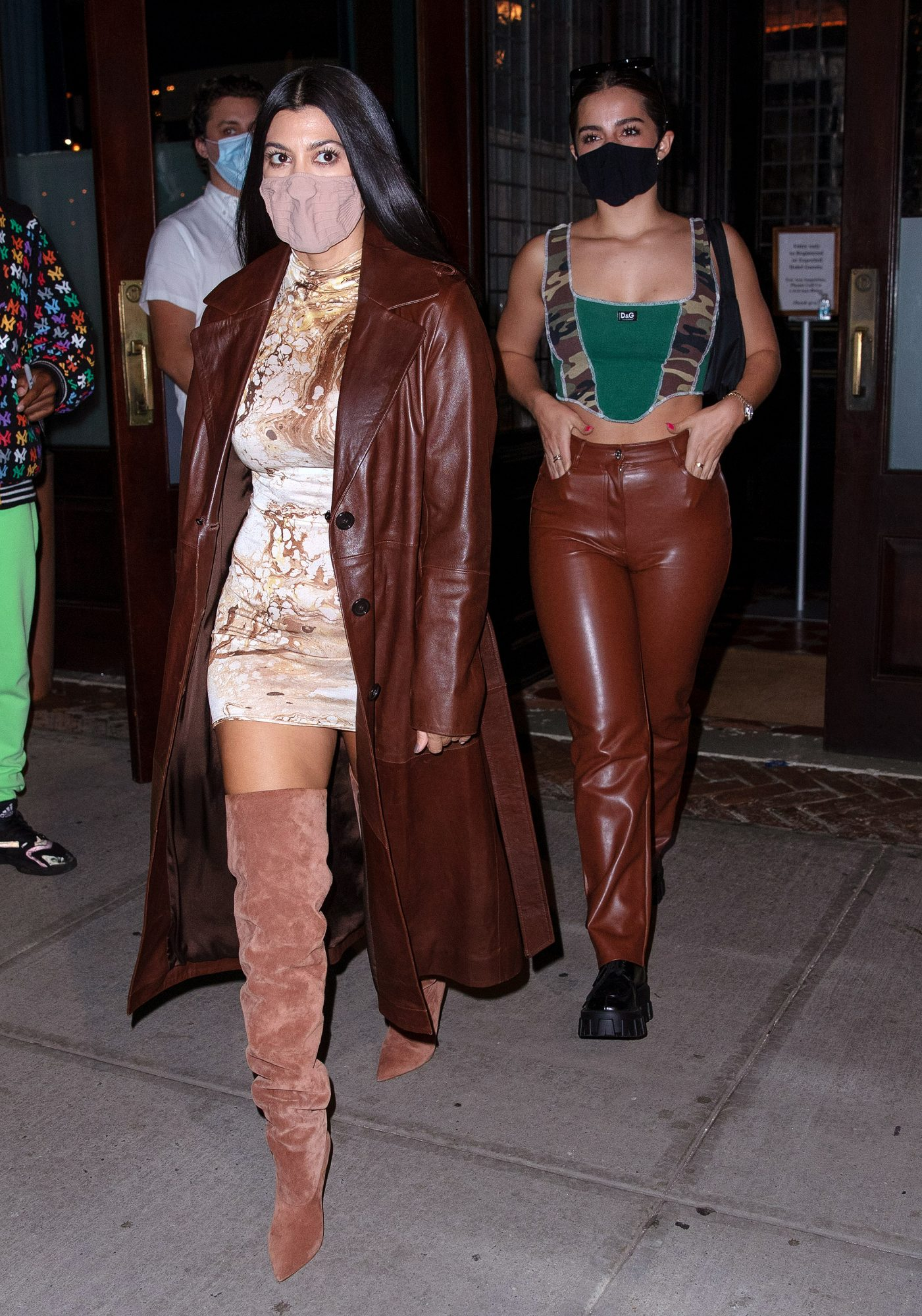 Kourtney Kourtney And Addison Rae Wear Leather Outfits When Out And About In New York City For Dinner