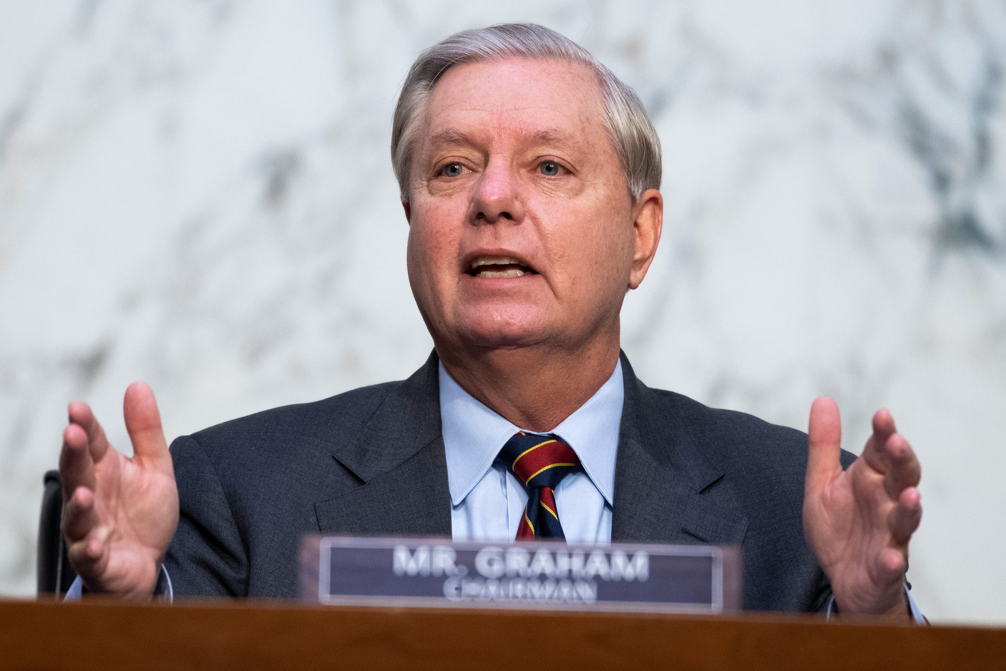 Chairman Sen. Lindsey Graham, R-S.C., questions Supreme Court justice nominee Amy Coney Barrett on the second day of her Senate Judiciary Committee confirmation hearing in Hart Senate Office Building on October 13, 2020 in Washington, DC