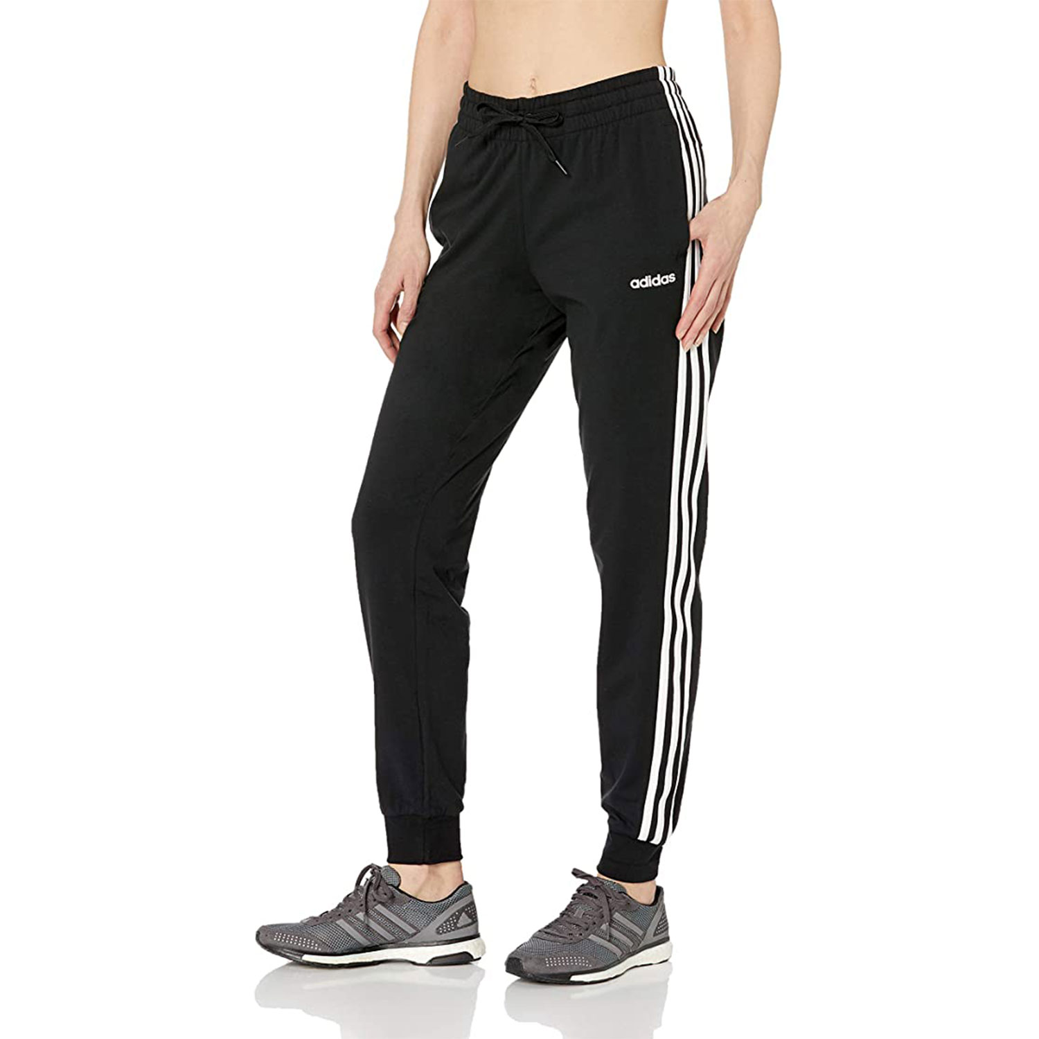 adidas women's essentials three stripes single jersey joggers