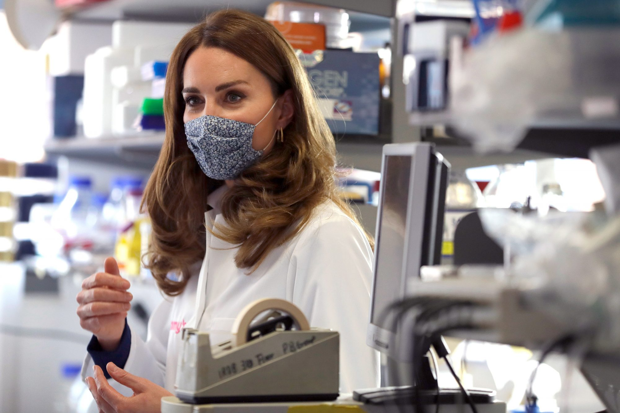 Catherine, Duchess of Cambridge tours a laboratory, during a visit to the Institute of Reproductive and Development Biology, at Imperial College on October 14, 2020