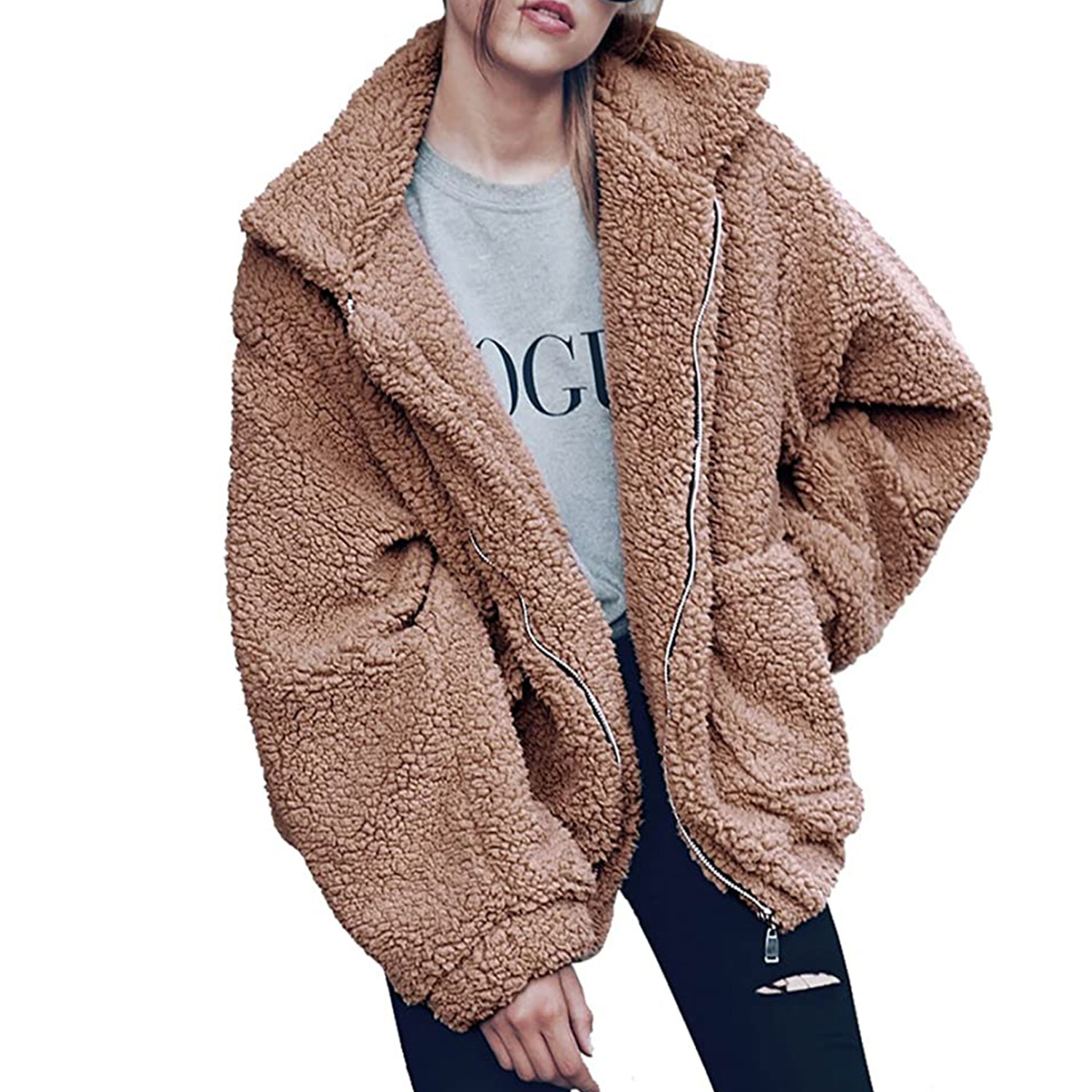 women's fashion long sleeve lapel zip-up faux shearling