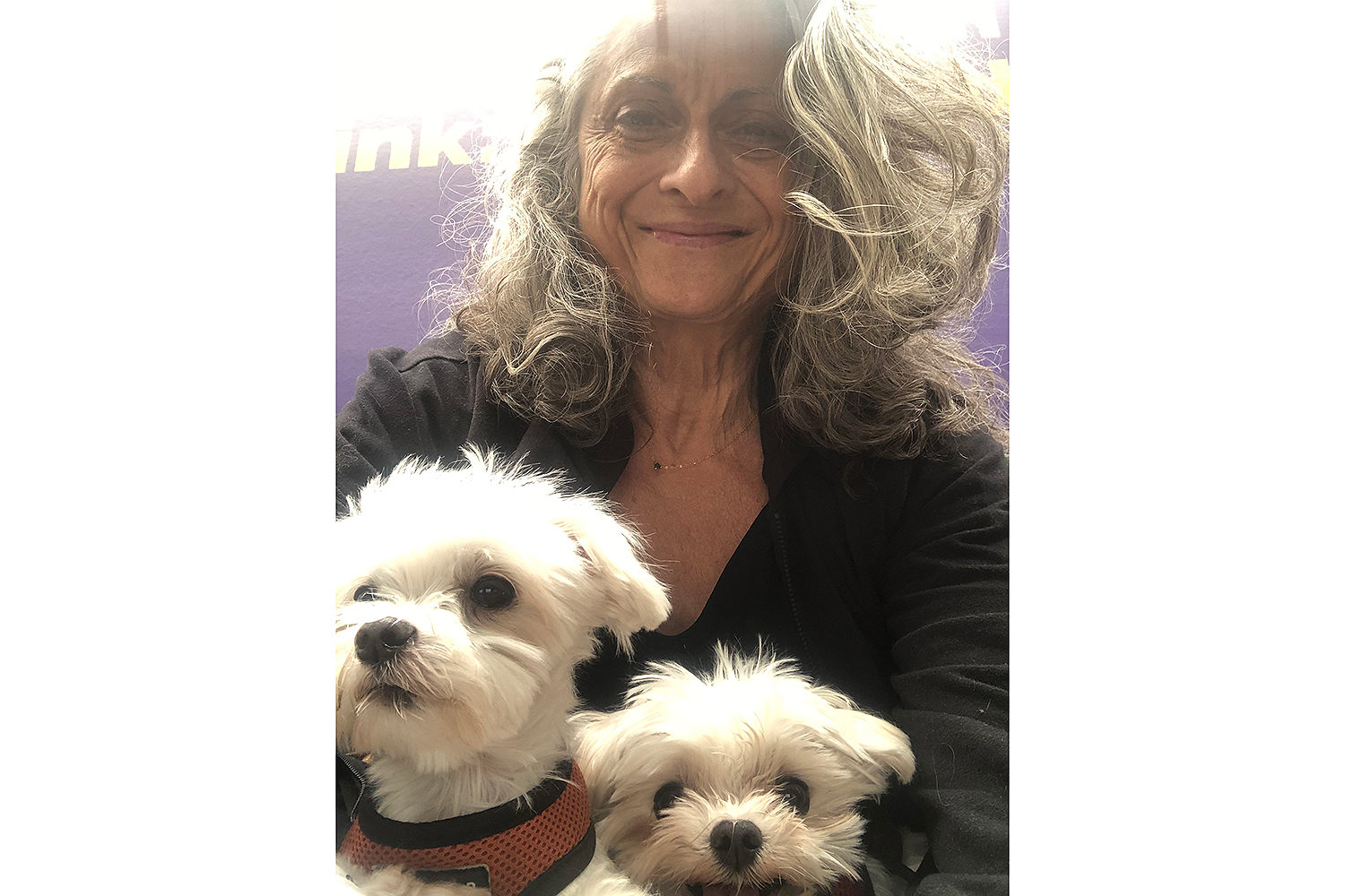 Janis Dardaris and her two dogs