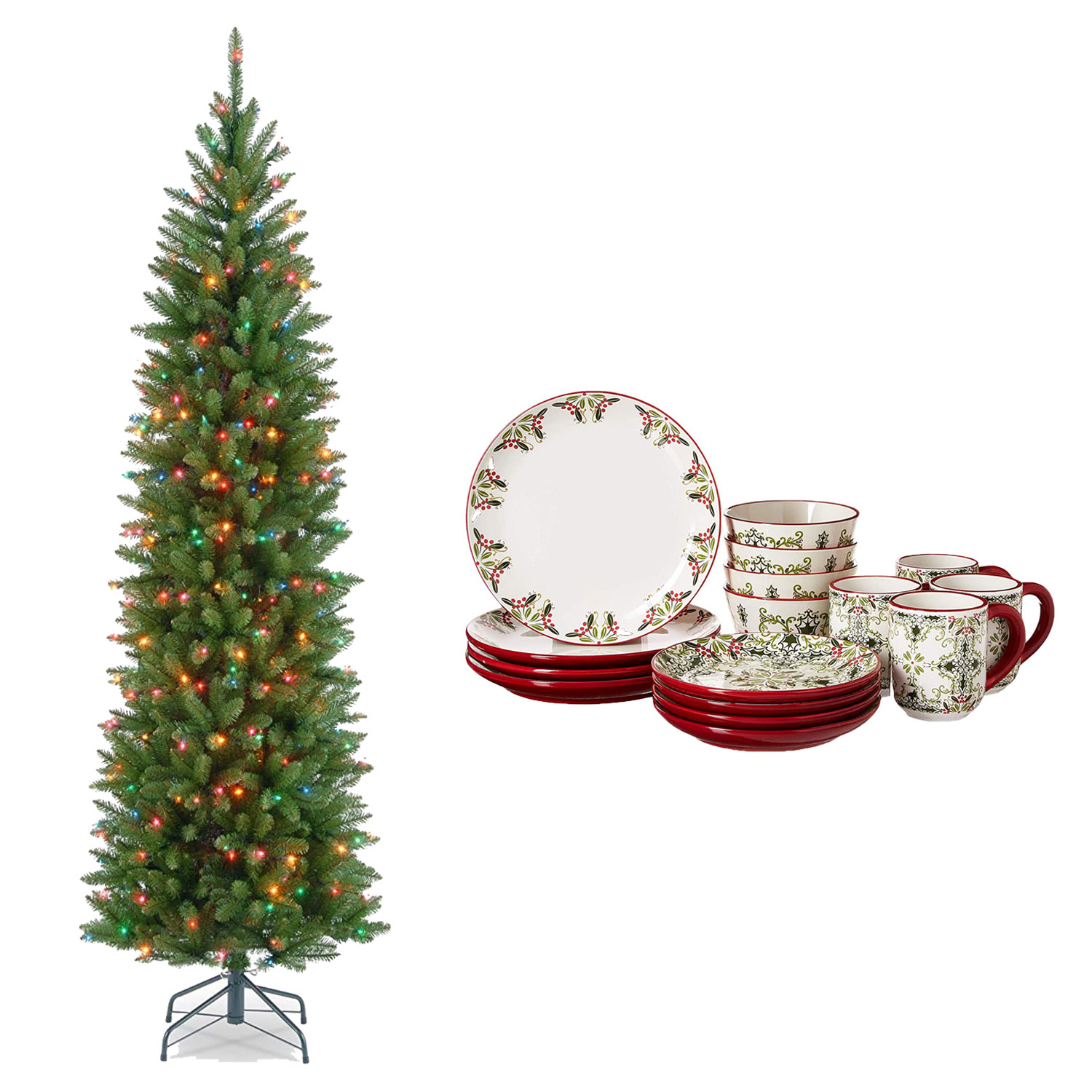 artificial christmas tree holiday dinner set