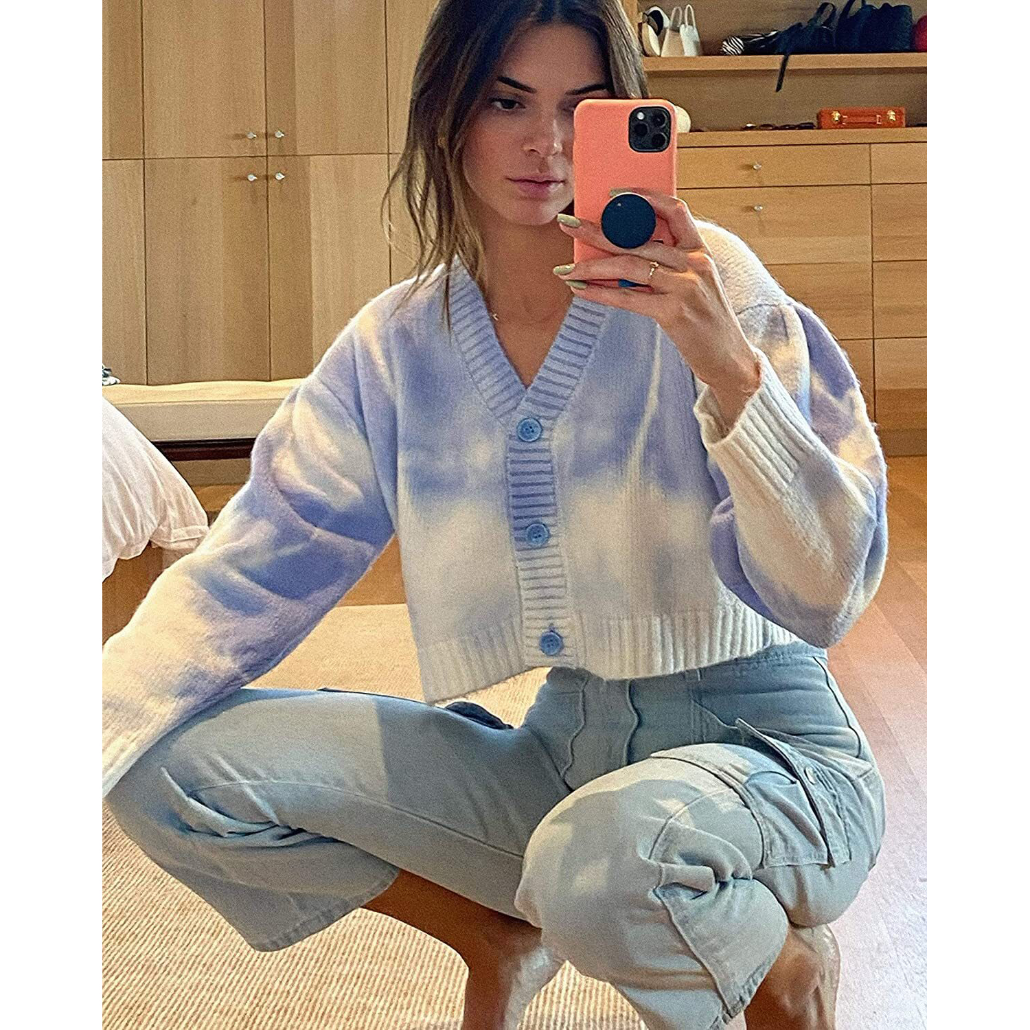 kendall kylie jenner amazon the drop Cropped Tie-Dye Cardigan