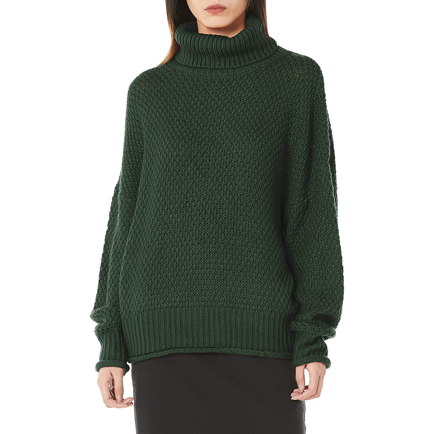 Women Casual Turtleneck Long Sleeve Chunky Knitted Pullover Sweaters