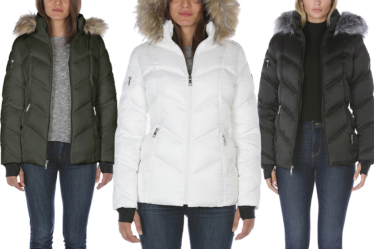 Macys Nautica Faux-Fur-Trim Hooded Puffer Coat