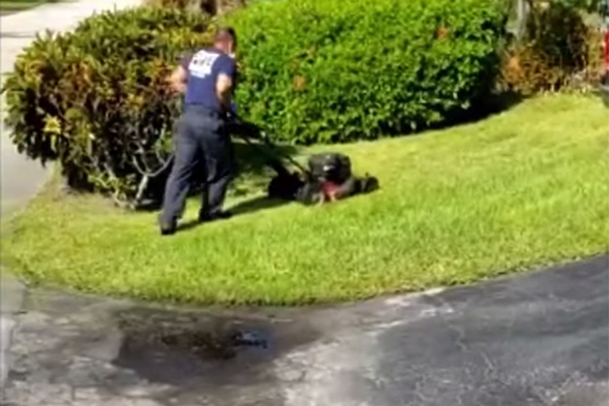 firefighters mow elderly mans lawn