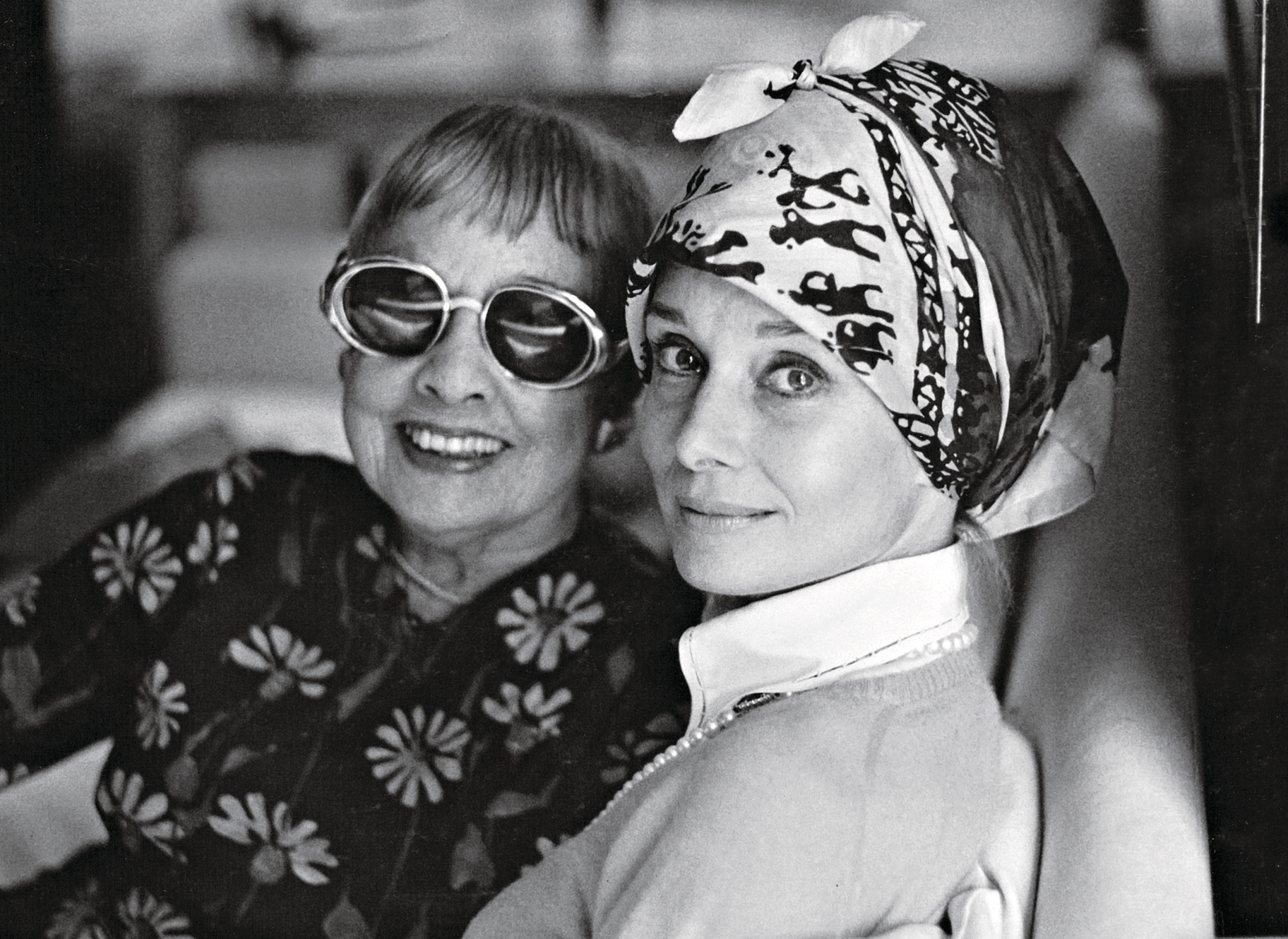 Audrey Hepburn (right) with playwright Anita Loos