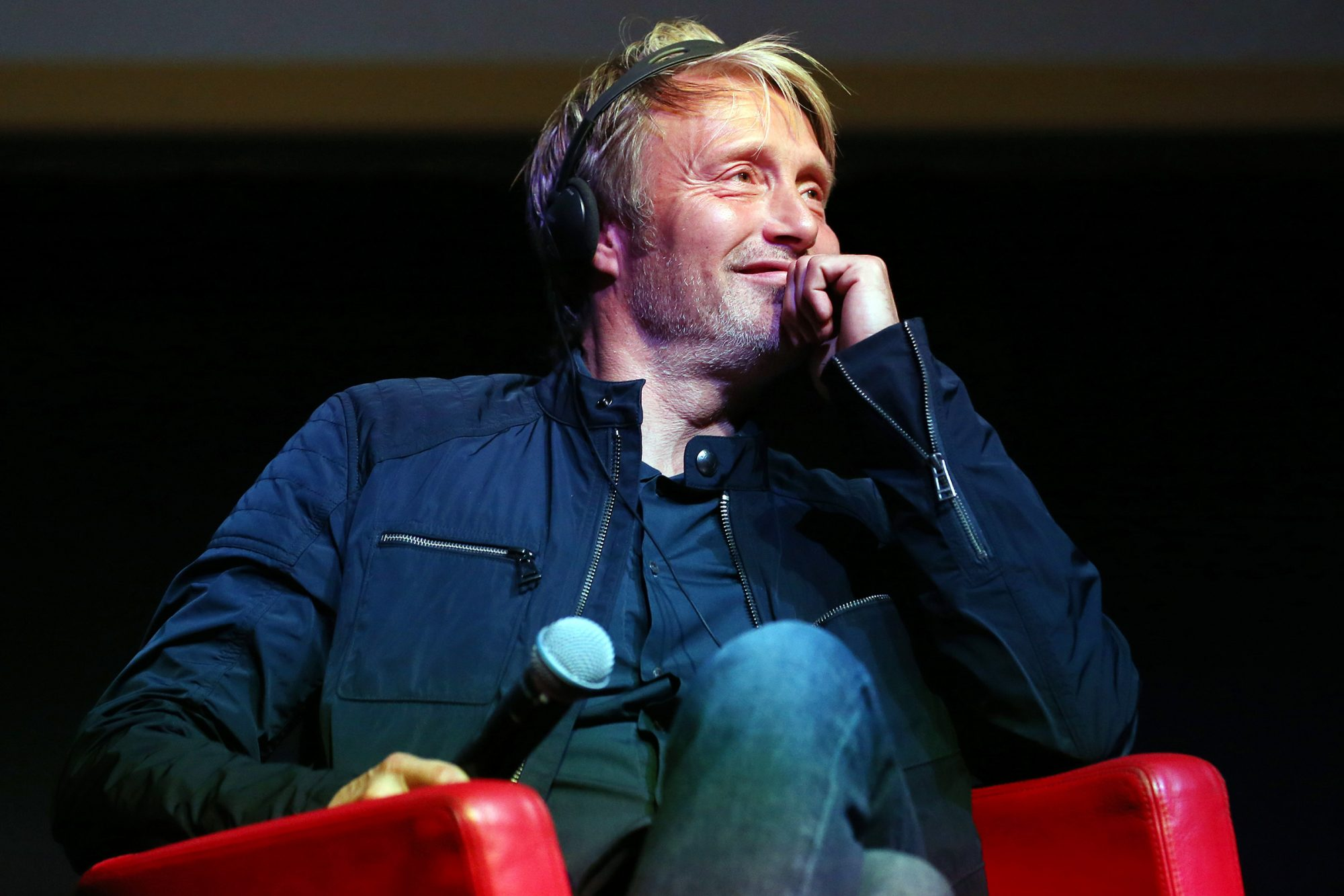 """Mads Mikkelsen attends the """"Druk (Another Round)"""" Press Conference during the 15th Rome Film Festival on October 20, 2020 in Rome, Italy"""