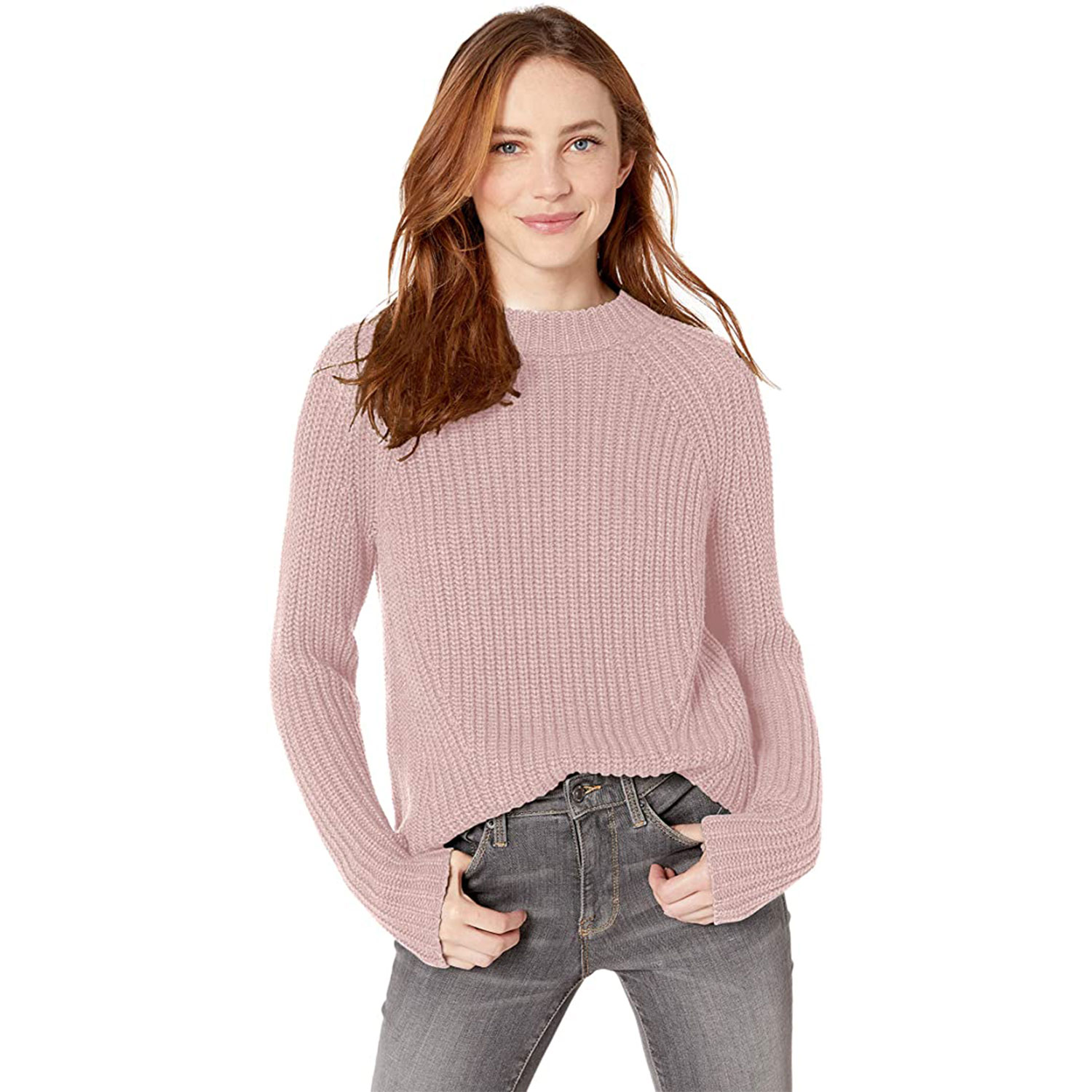women's relaxed fit cotton shaker stitch mock neck sweater
