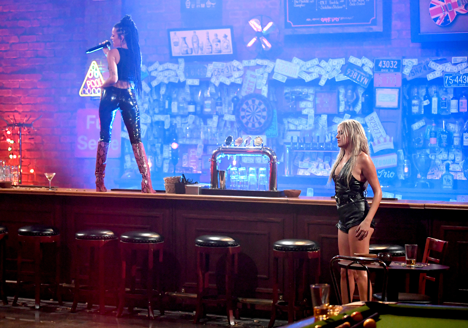 Kelsea Ballerini and Halsey perform onstage for the 2020 CMT Awards