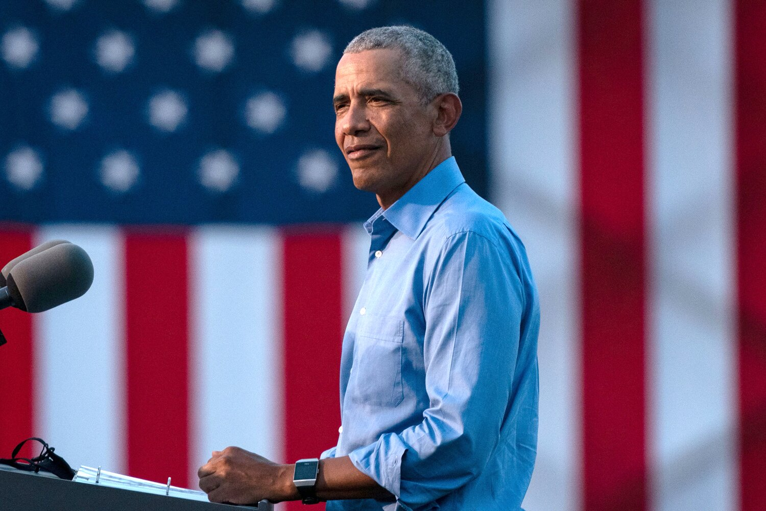 Former U.S. President Barack Obama speaks at a drive-in rally for Democratic presidential nominee Joe Biden