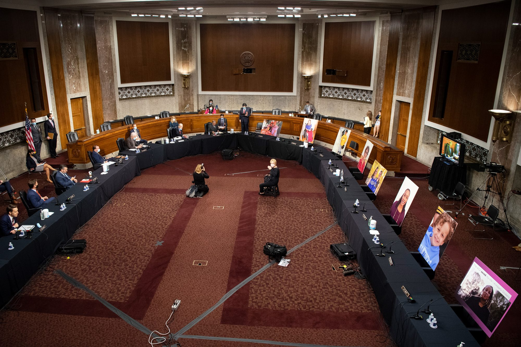 Democratic Senators on the Senate Judiciary Committee boycott the committee vote on Amy Coney Barrett to serve as an associate justice on the Supreme Court of the United States during a Senate Judiciary Committee Executive Business meeting in Washington on Thursday, Oct. 22, 2020
