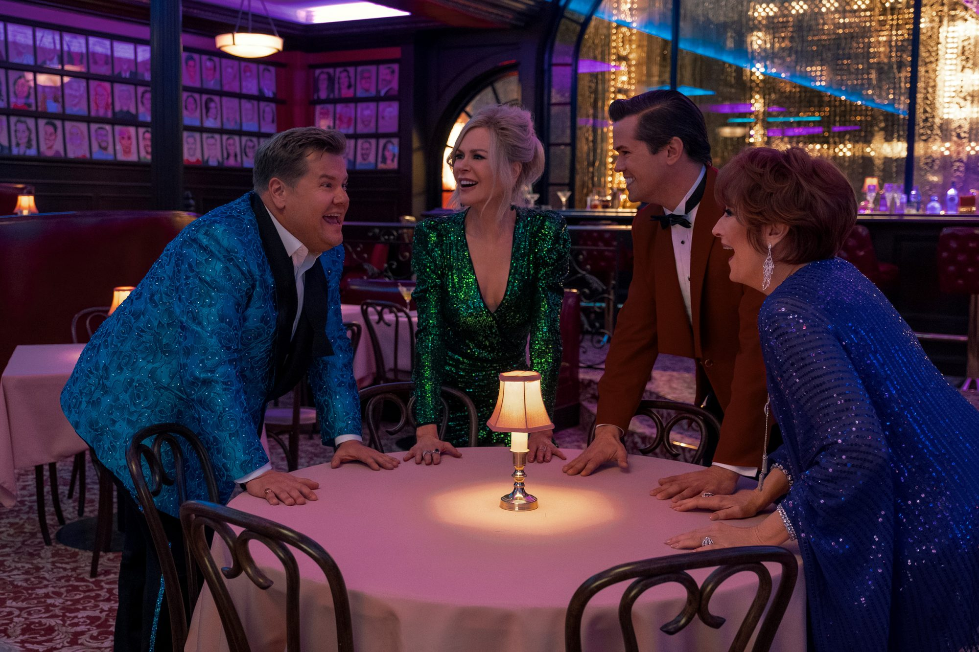THE PROM (L to R) JAMES CORDEN as BARRY GLICKMAN, NICOLE KIDMAN as ANGIE DICKINSON, ANDREW RANNELLS as TRENT OLIVER, MERYL STREEP as DEE DEE ALLEN in THE PROM