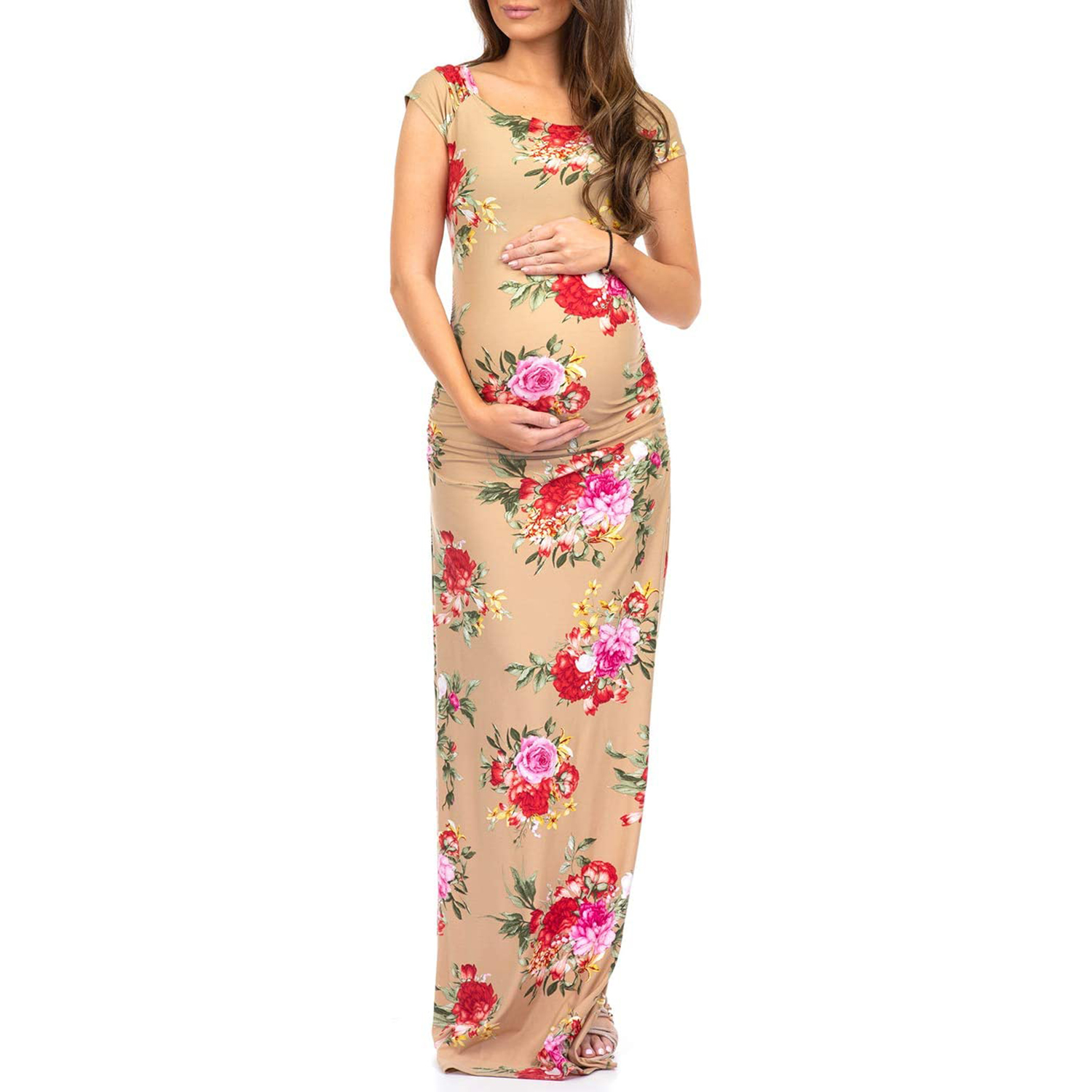 Mother Bee Maternity Short Sleeve Ruched Bodycon Maternity Dress with Side Slits