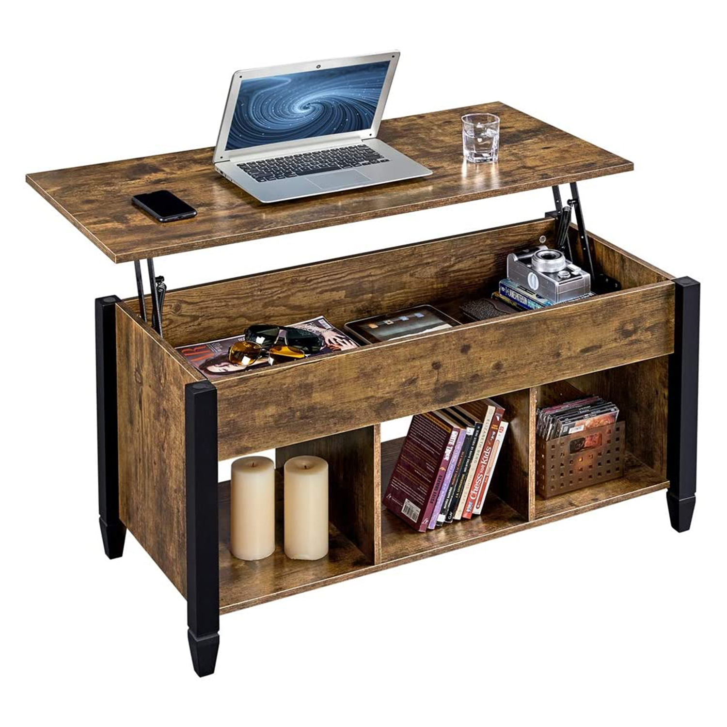 YAHEETECH Minimalist Wooden Lift Top Coffee Table w/Hidden Storage Compartment