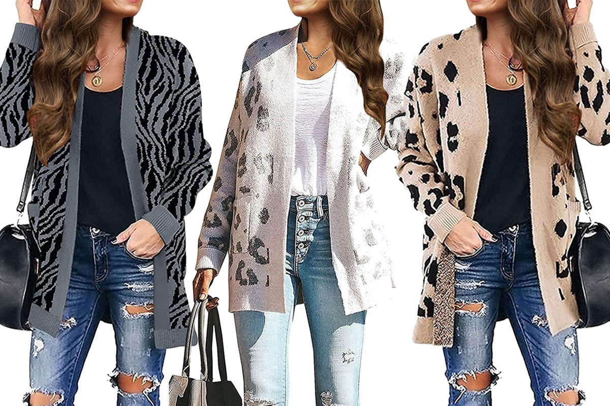 women's long sleeves leopard print knitted sweater cardigan gray