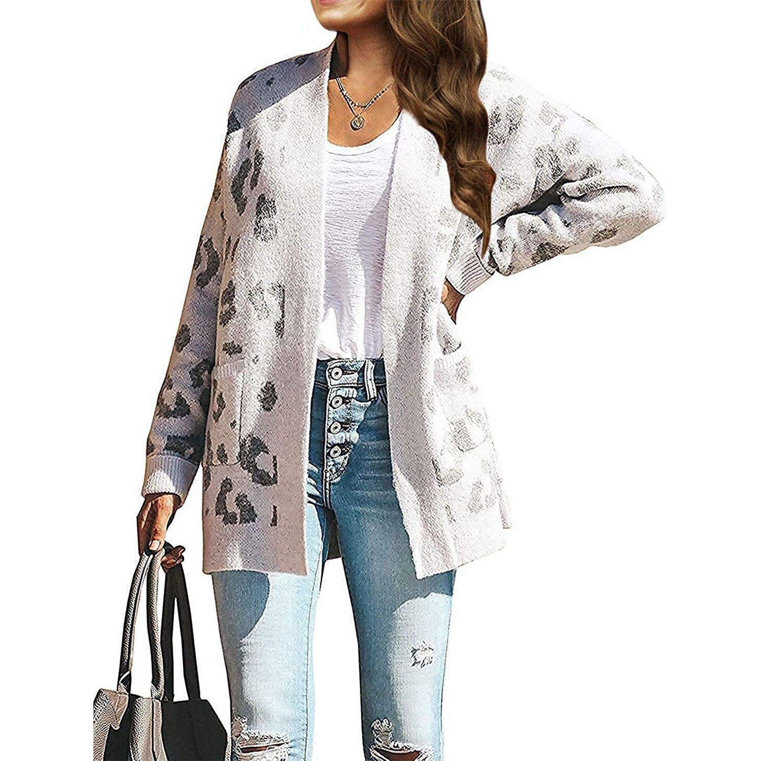 women's long sleeves leopard print knitted sweater cardigan