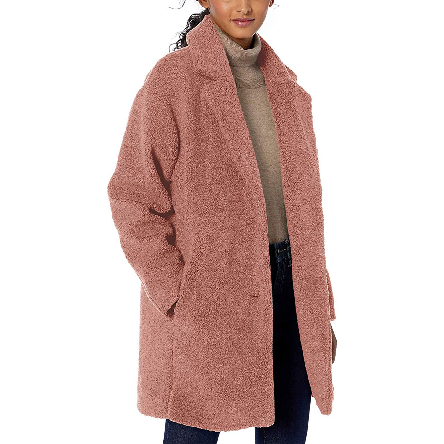 amazon daily ritual women's teddy bear fleece lapel coat