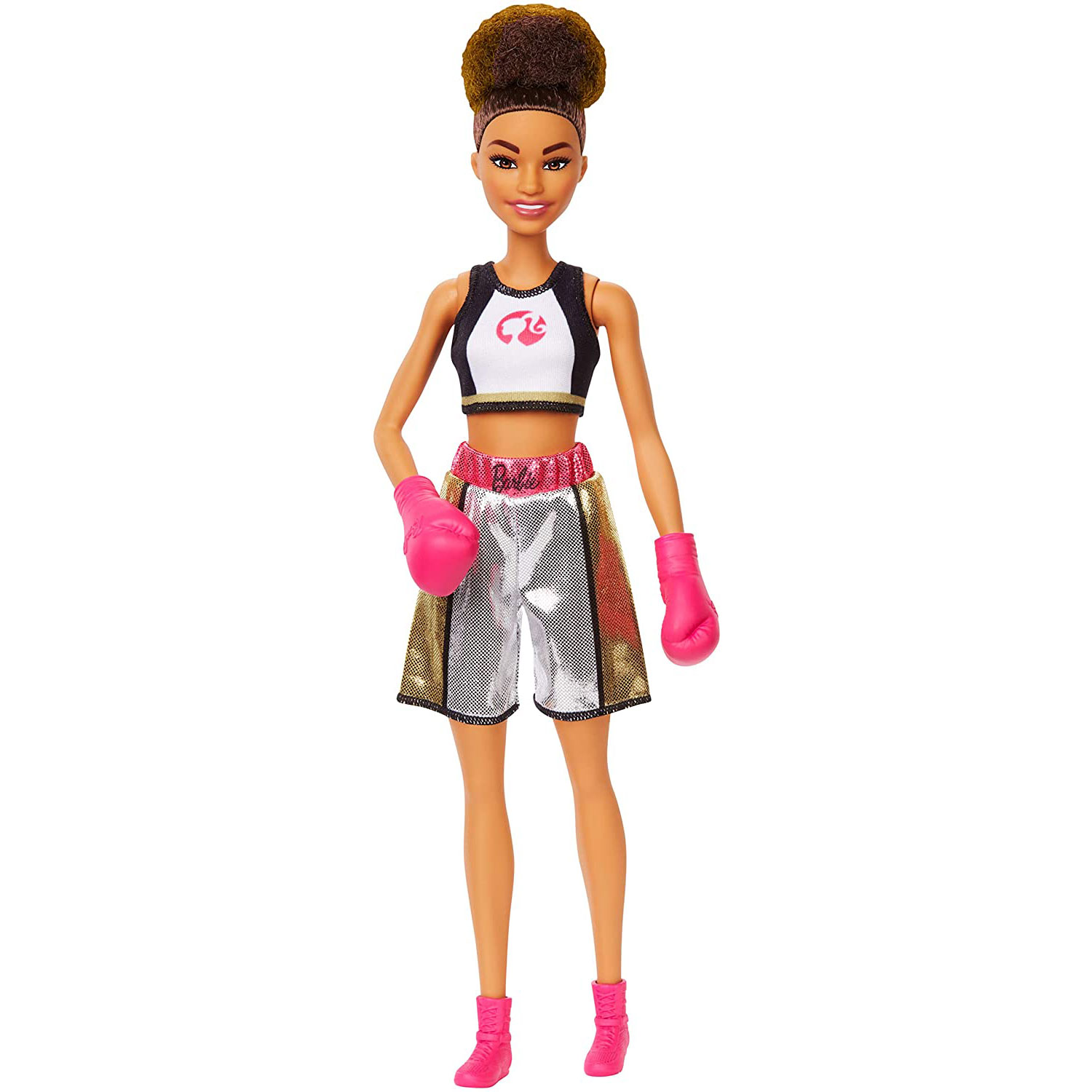 barbie boxer doll brunette wearing boxing outfit pink boxing gloves