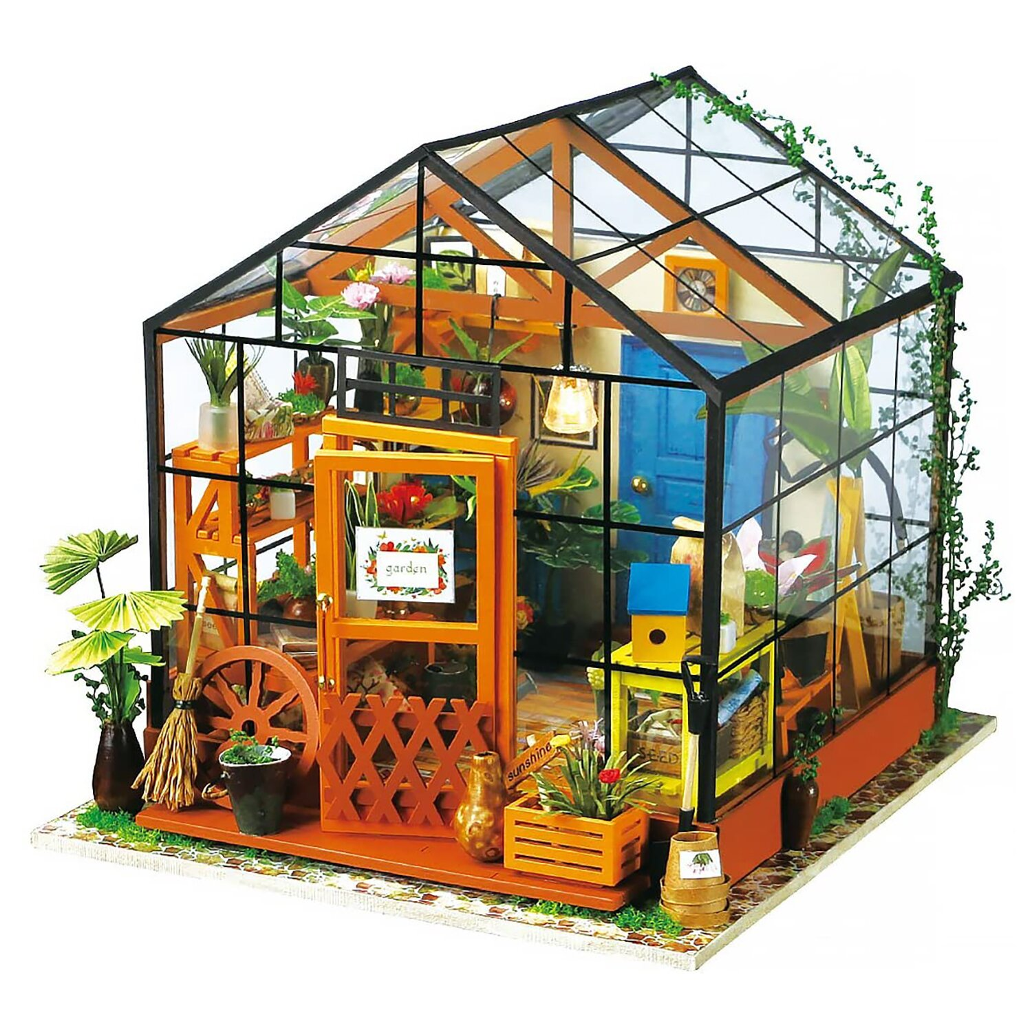 ROBOTIME DIY Dollhouse Wooden Miniature Furniture Kit Mini Green House