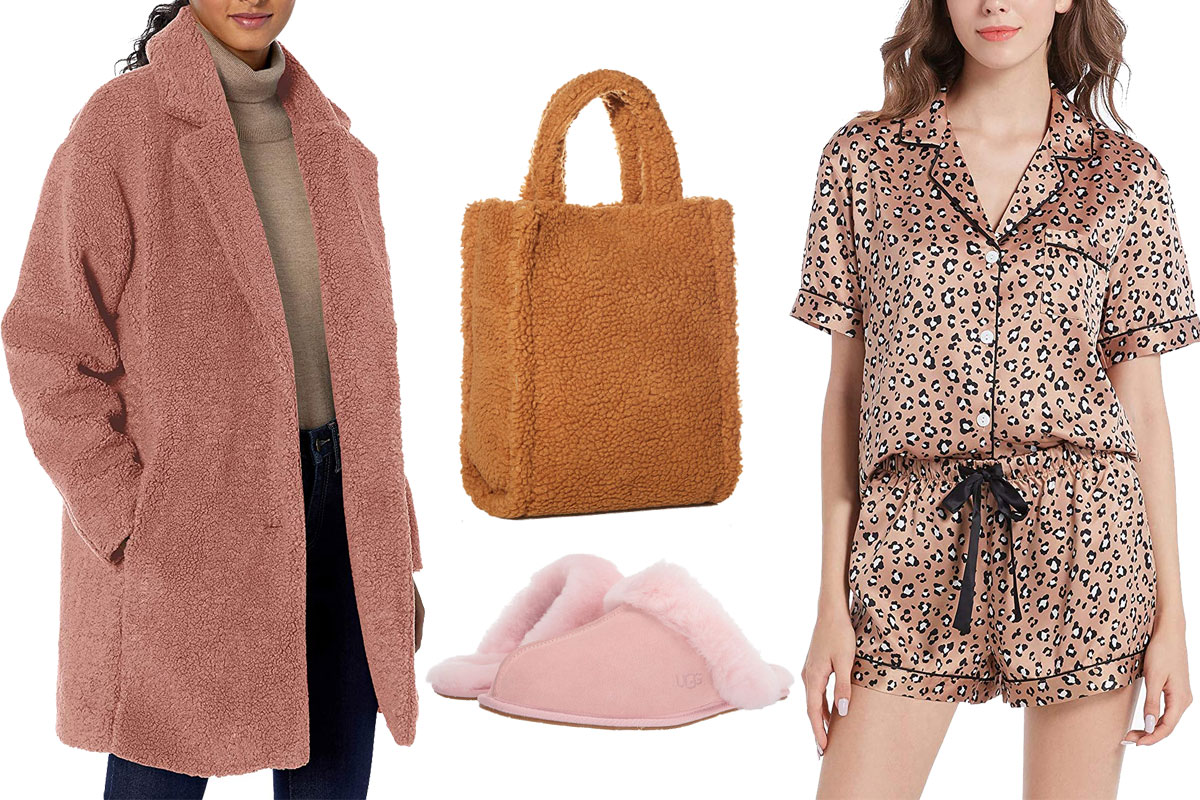 ugg scuffette, tote bag, fleece lapel coat