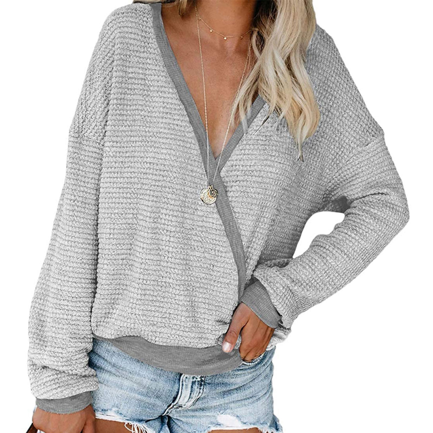 women's deep v-neck wrap sweater long sleeve waffle knit pullover, gray
