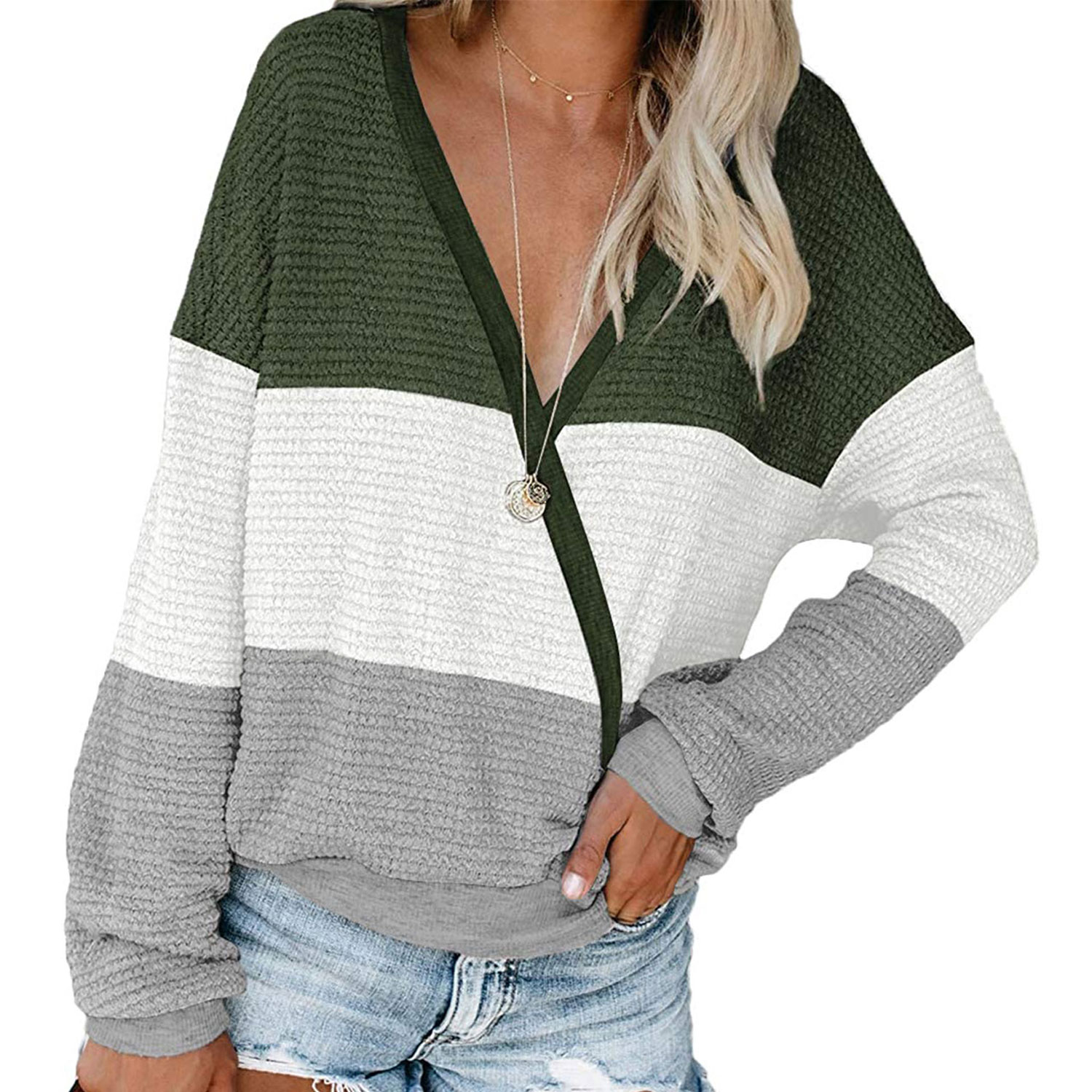 women's deep v-neck wrap sweater long sleeve waffle knit pullover, green, white and gray striped