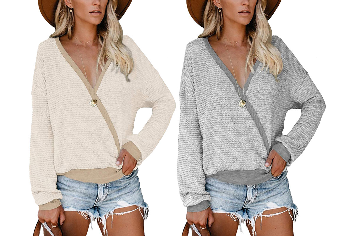 women's deep v-neck wrap sweater long sleeve waffle knit pullover, beige and gray