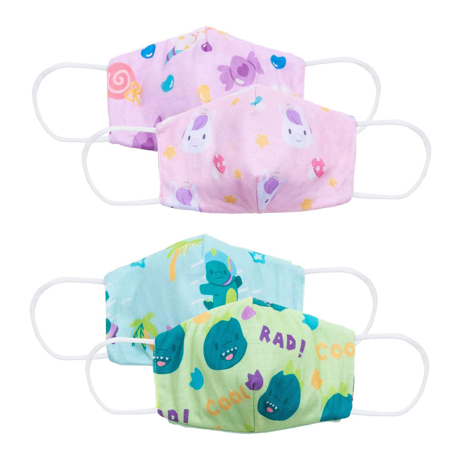 Cubcoats Reversible Kids Face Mask (2-Pack) Double-Sided Reversible Designs with Space for a filter