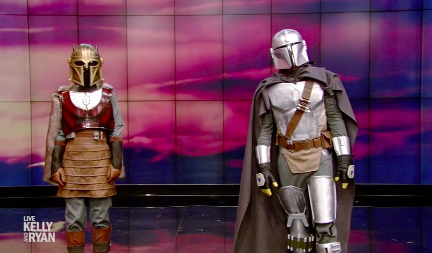 Kelly Ripa and Ryan Seacrest in The Mandalorian halloween costumes