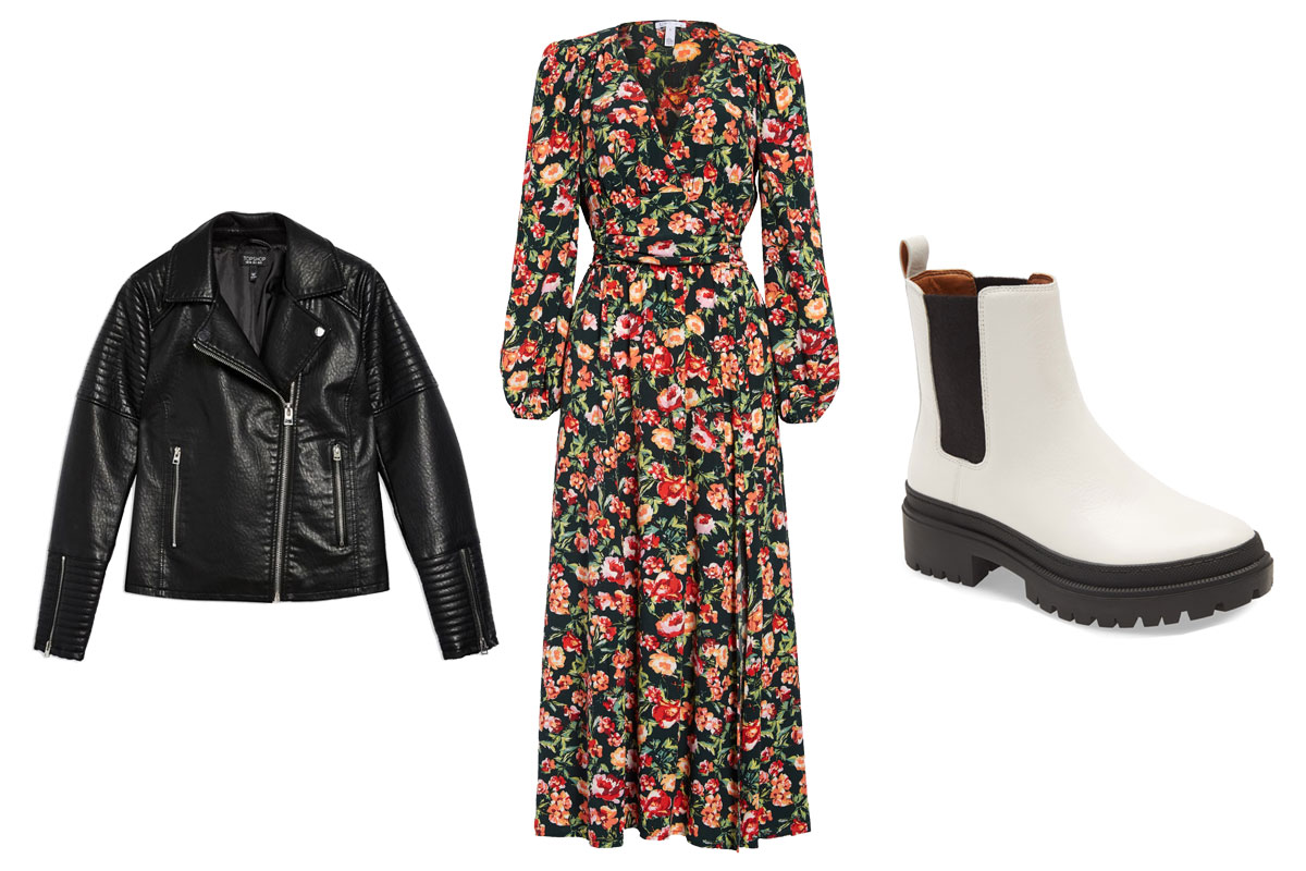 lucky brand bootie, topshop rosa biker jacket, leith longsleeve dress