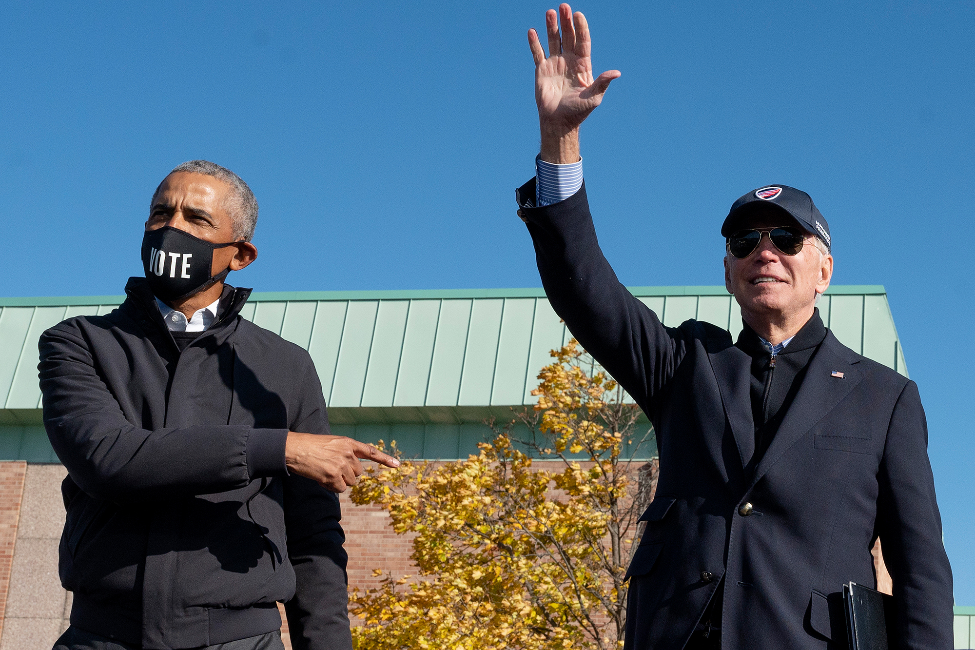 Barack Obama (left) and Joe Biden on the campaign trail in 2020