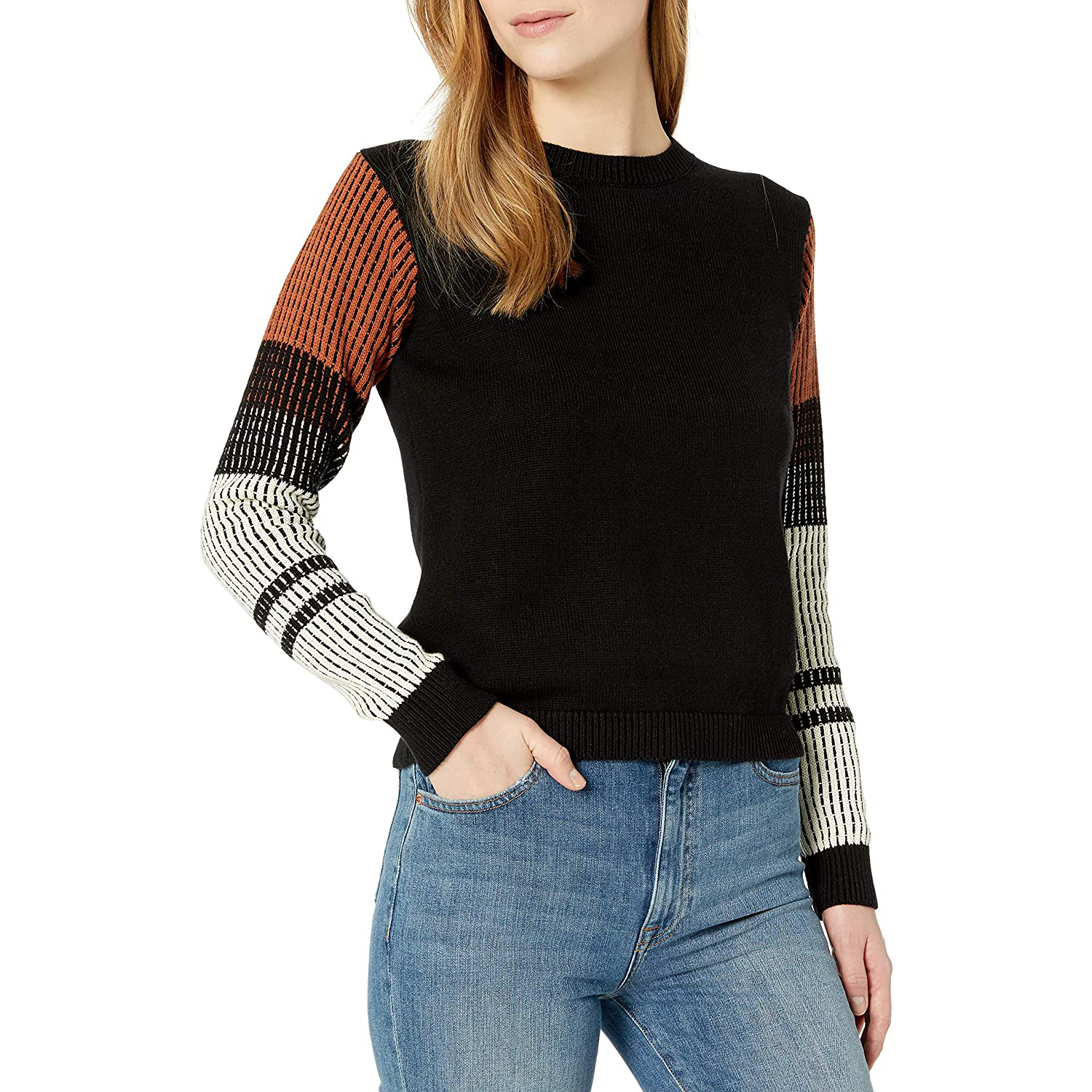 Women's Contrast Sleeve Cotton Sweater amazon cable stitch sweaters deals