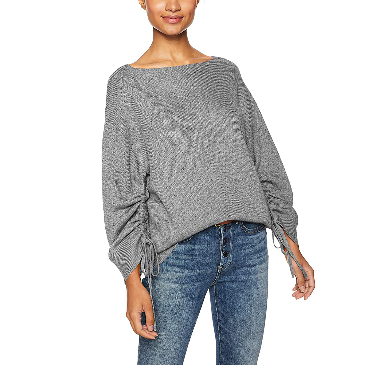 omen's Ruched Sleeve Sweater amazon cable stitch sweaters deals