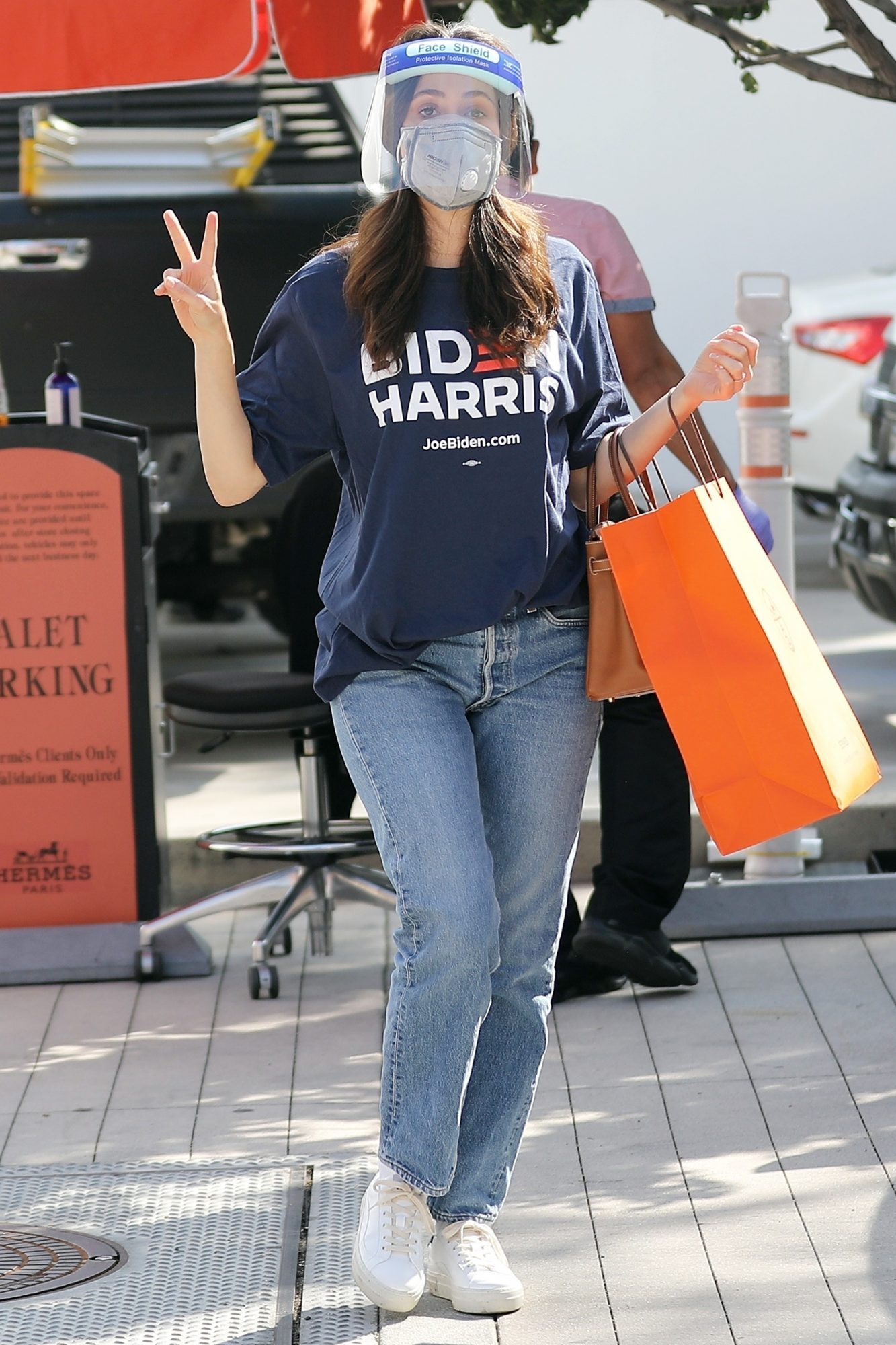 Emmy Rossum shows her support for Democrat Joe Biden while out on a shopping trip at Hermes on Rodeo Dr