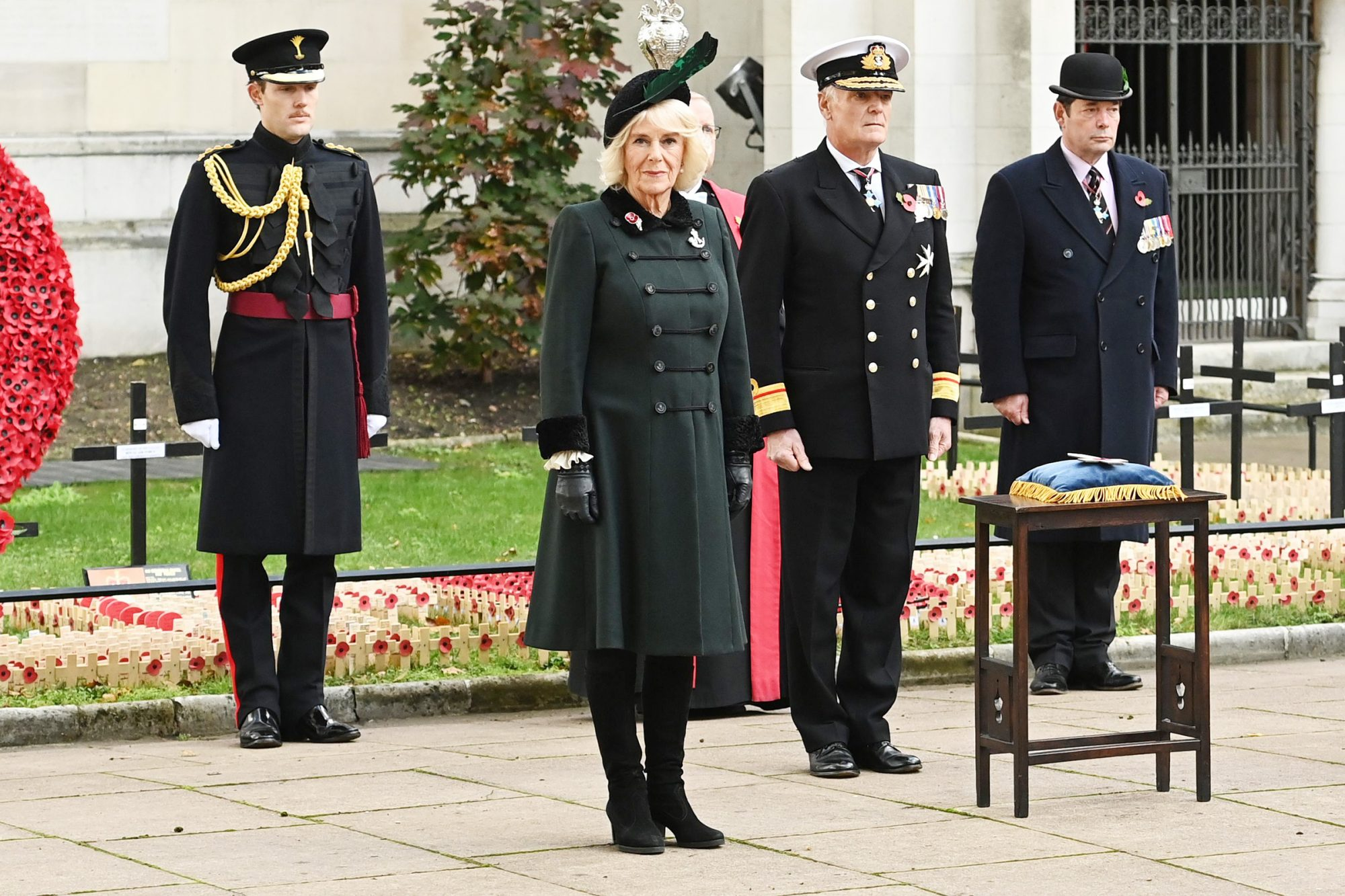 Camilla Duchess of Cornwall attends 92nd Field of Remembrance at Westminster Abbey