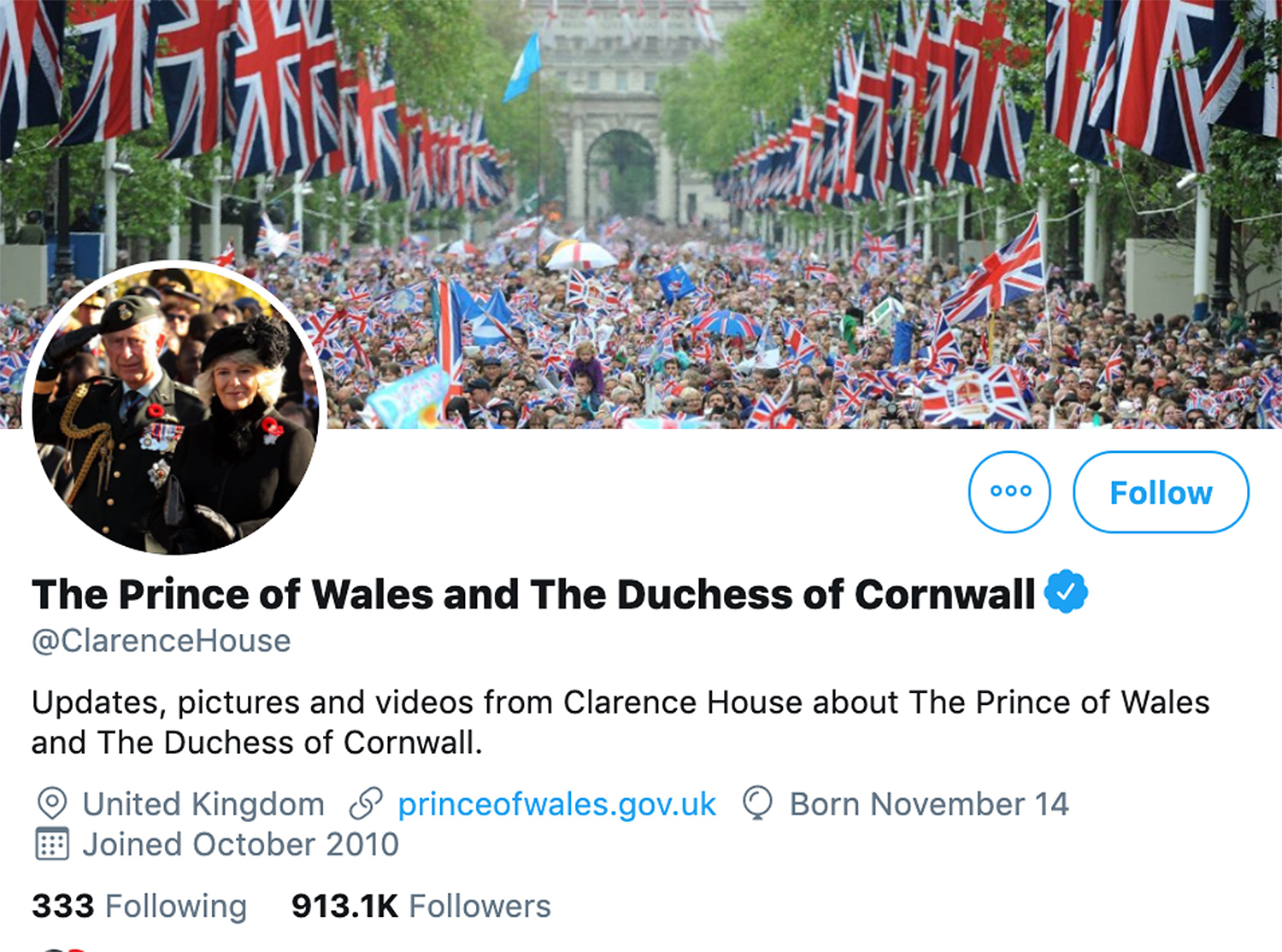 Charles and Camilla Twitter