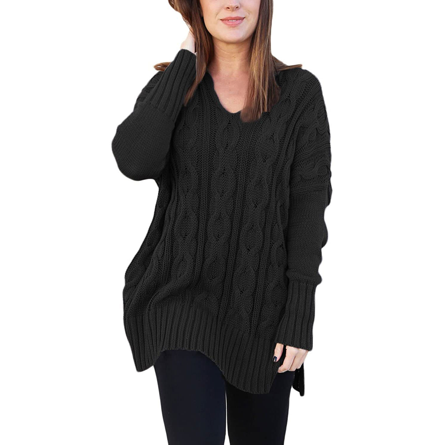 sidefeel women casual v-neck loose fit knit sweater pullover top