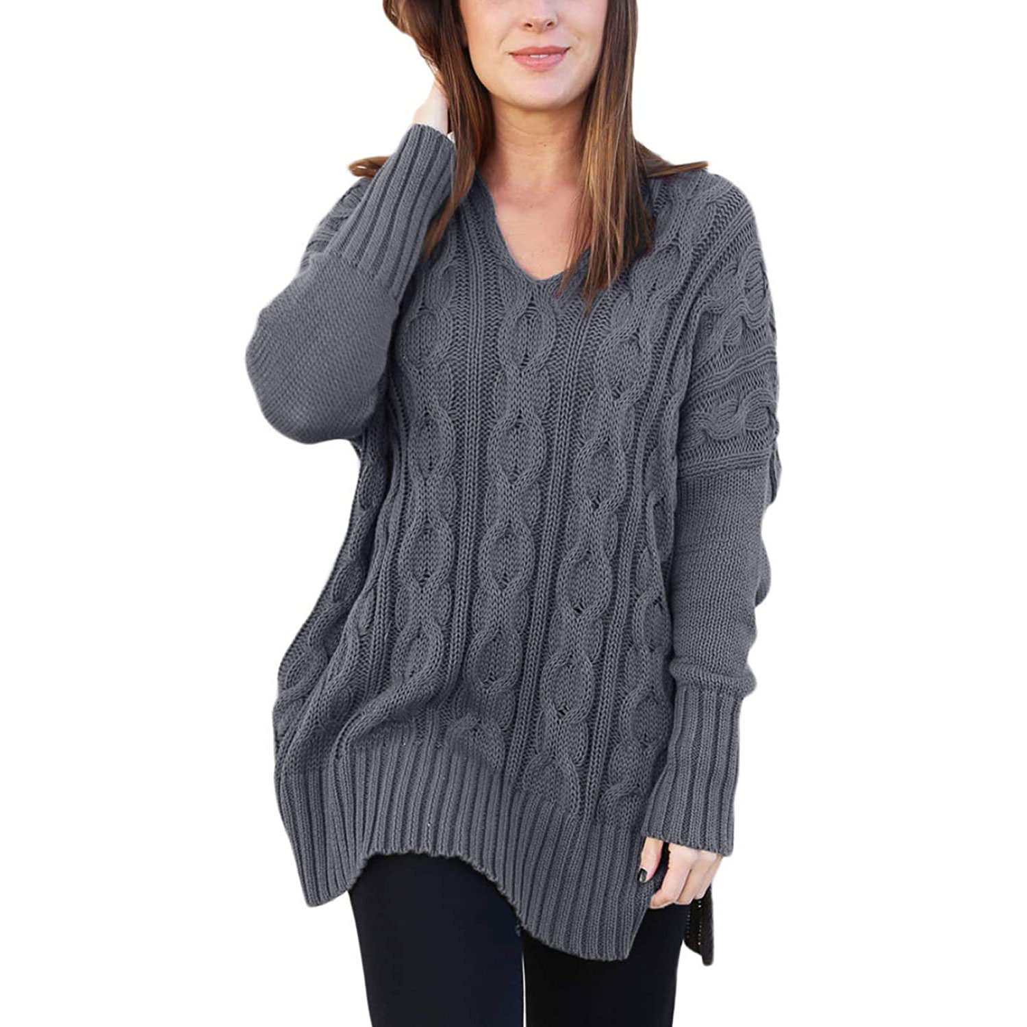 sidefeel women casual v-neck loose fit knit sweater pullover top, gray